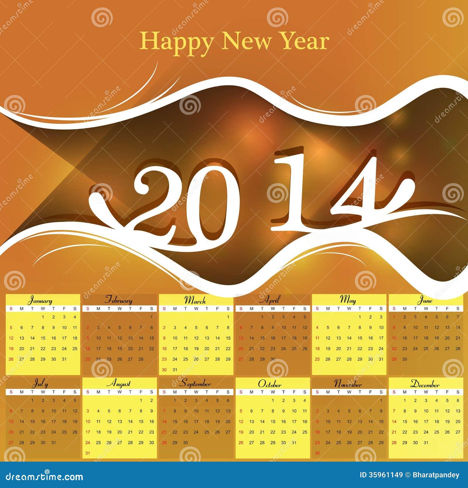 Diseño colorido de 2014 calendarios