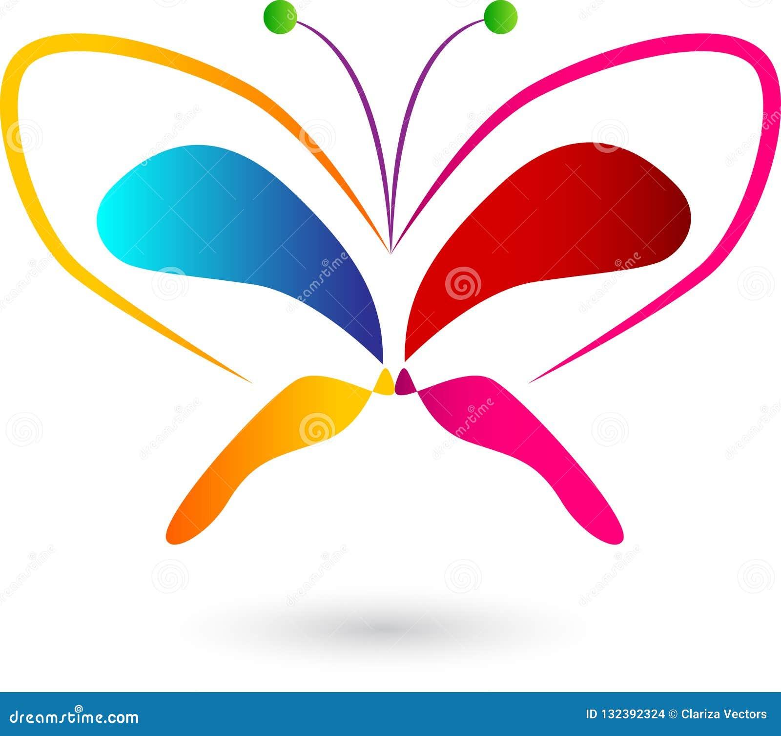 Diseño colorido del logotipo de la mariposa