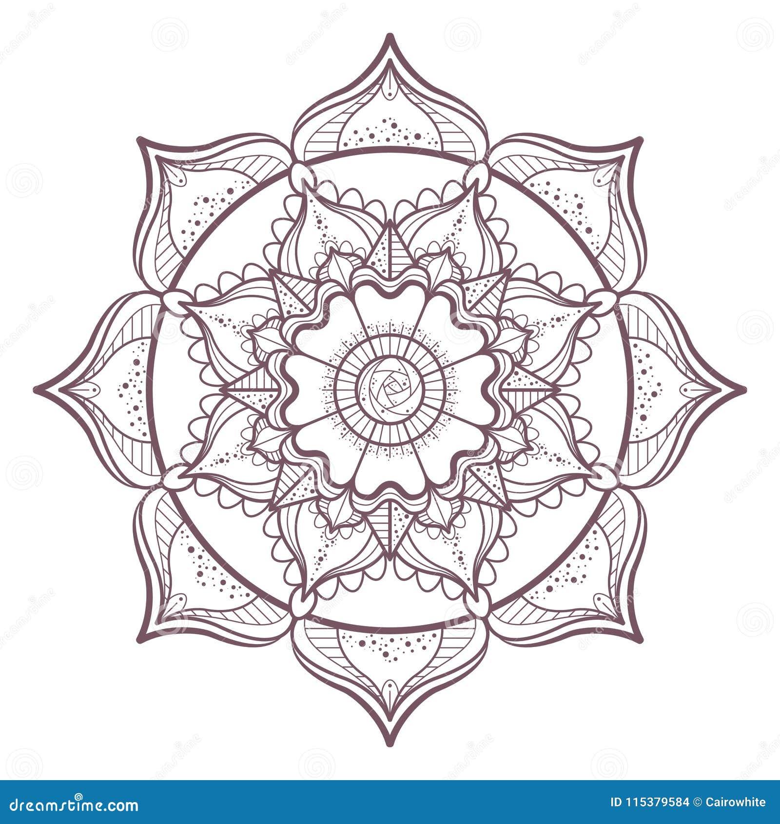 Diseño Complejo Circular De La Mandala Para Colorear Ilustración del ...