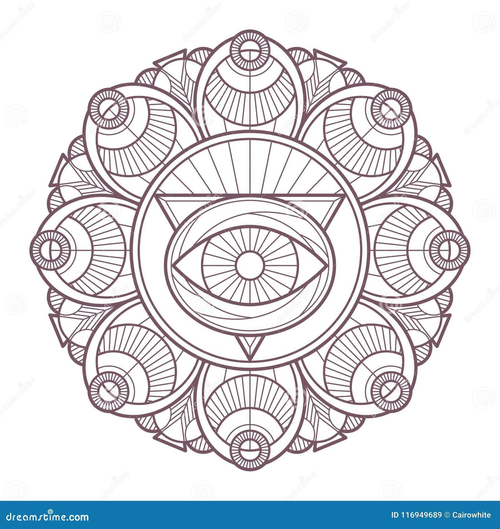 Diseño Complejo Circular De La Mandala Para Colorear Ilustración