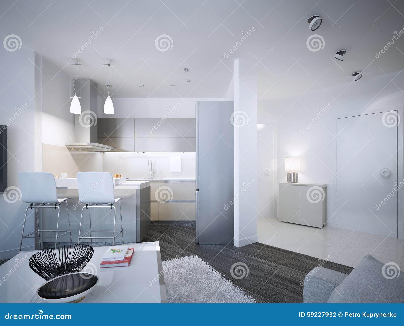 Download Diseño Contemporáneo Del Estudio De La Cocina Stock de ilustración - Ilustración de minimalist, living: 59227932