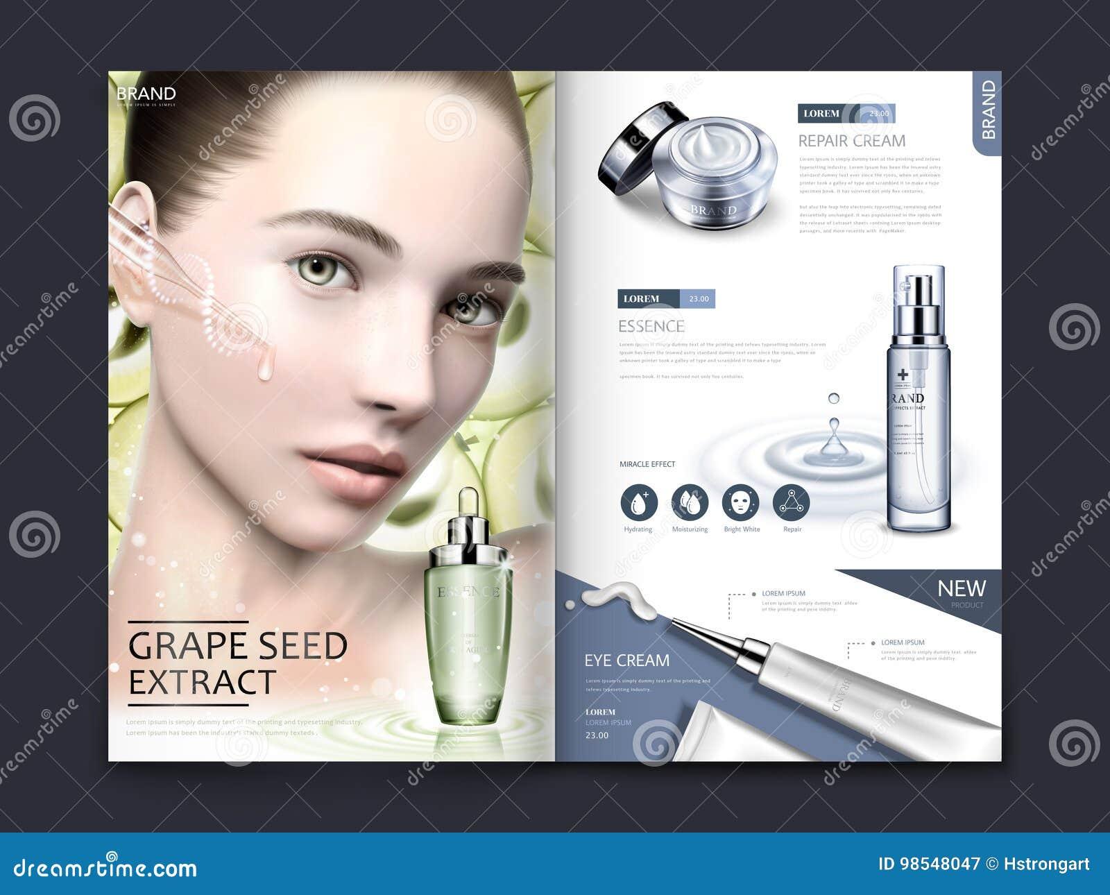 Diseño cosmético de la revista o del catálogo
