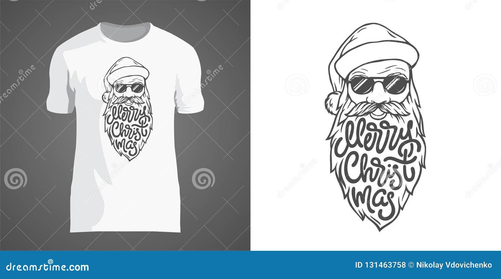 Diseño creativo de la camiseta con el ejemplo de Papá Noel en gafas de sol con la barba grande Poner letras a Feliz Navidad en fo