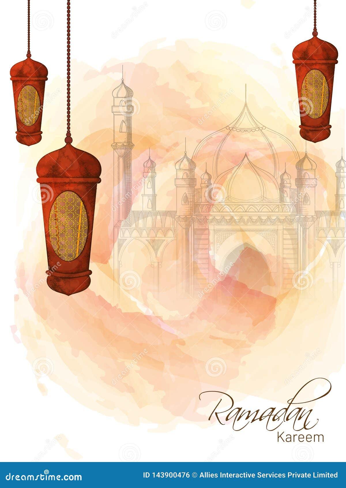 Diseño creativo de la plantilla adornado con las linternas de la ejecución y bosquejar el ejemplo de la mezquita para Ramadan Mub