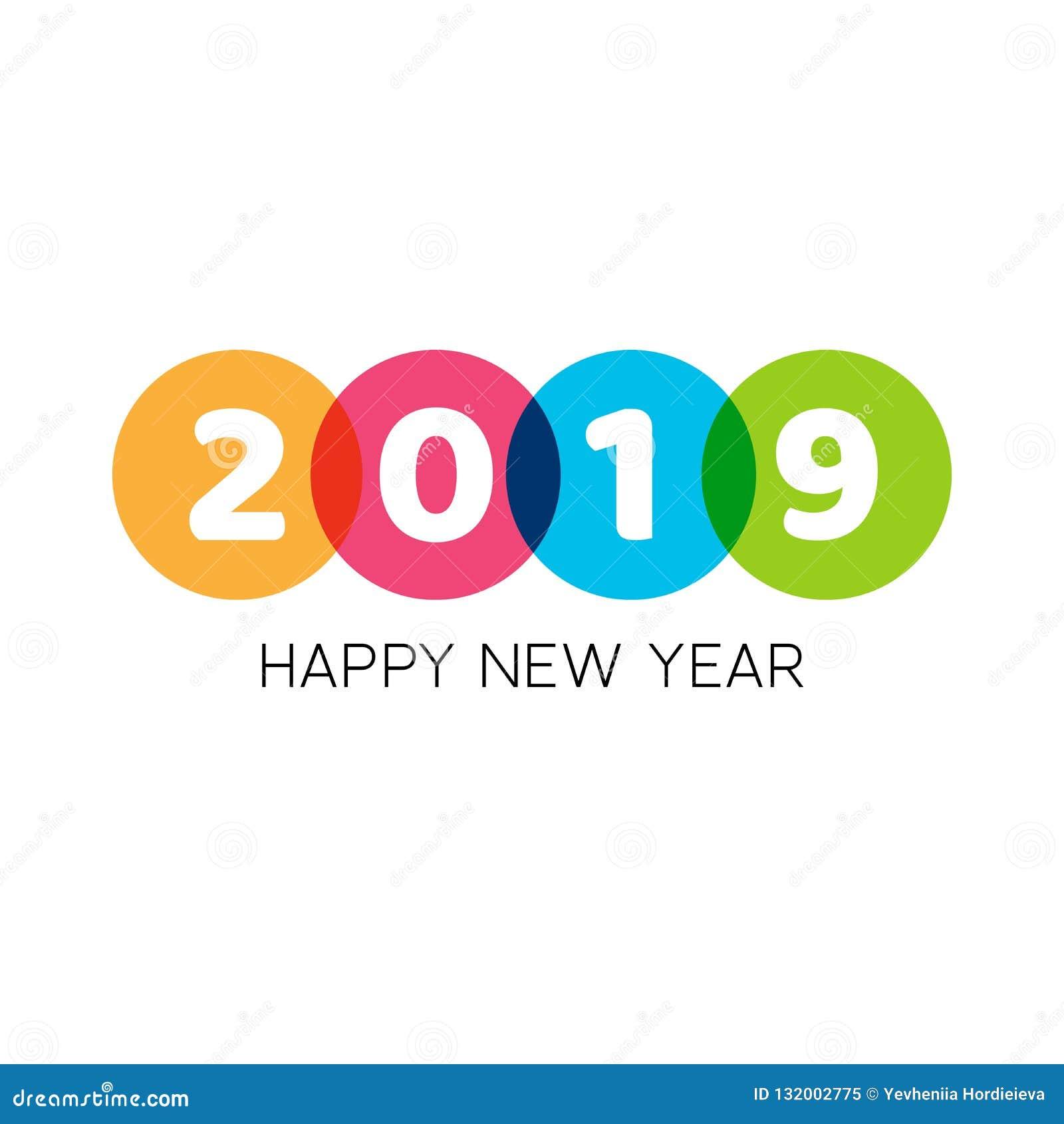 Diseño creativo del texto de la Feliz Año Nuevo 2019 con los elementos geométricos Texto blanco intrépido en círculos coloridos P