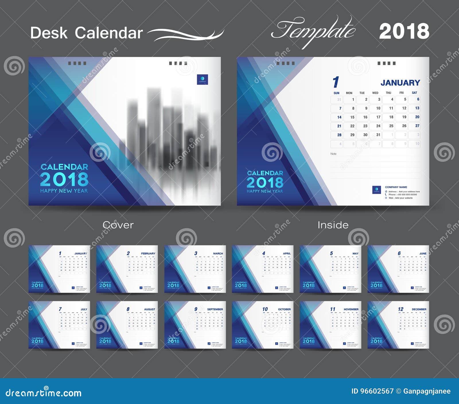 diseño 2018 cubierta azul de la disposición de la plantilla del