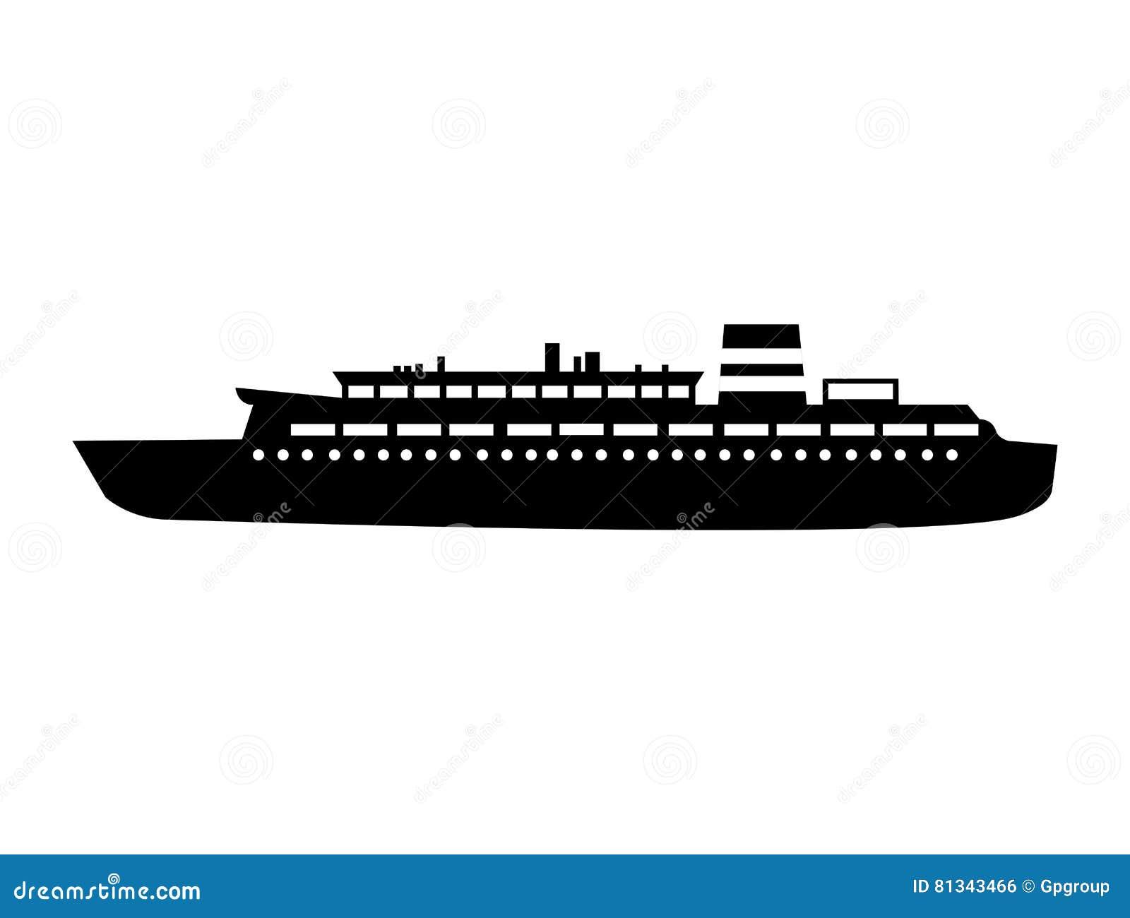 Diseño De Barco De Cruceros Negro De La Silueta Stock de ilustración ...