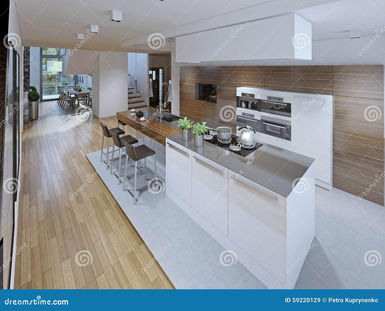 Diseño De Cocina Espaciosa Con La Isla Imagen de archivo - Imagen de ...