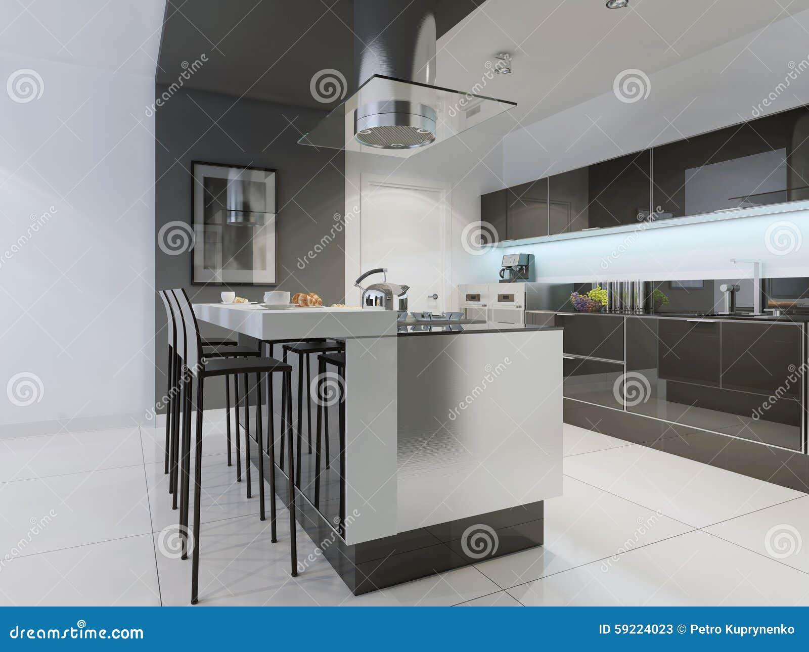Diseño De Cocina Moderna Con La Isla Imagen de archivo - Imagen de ...