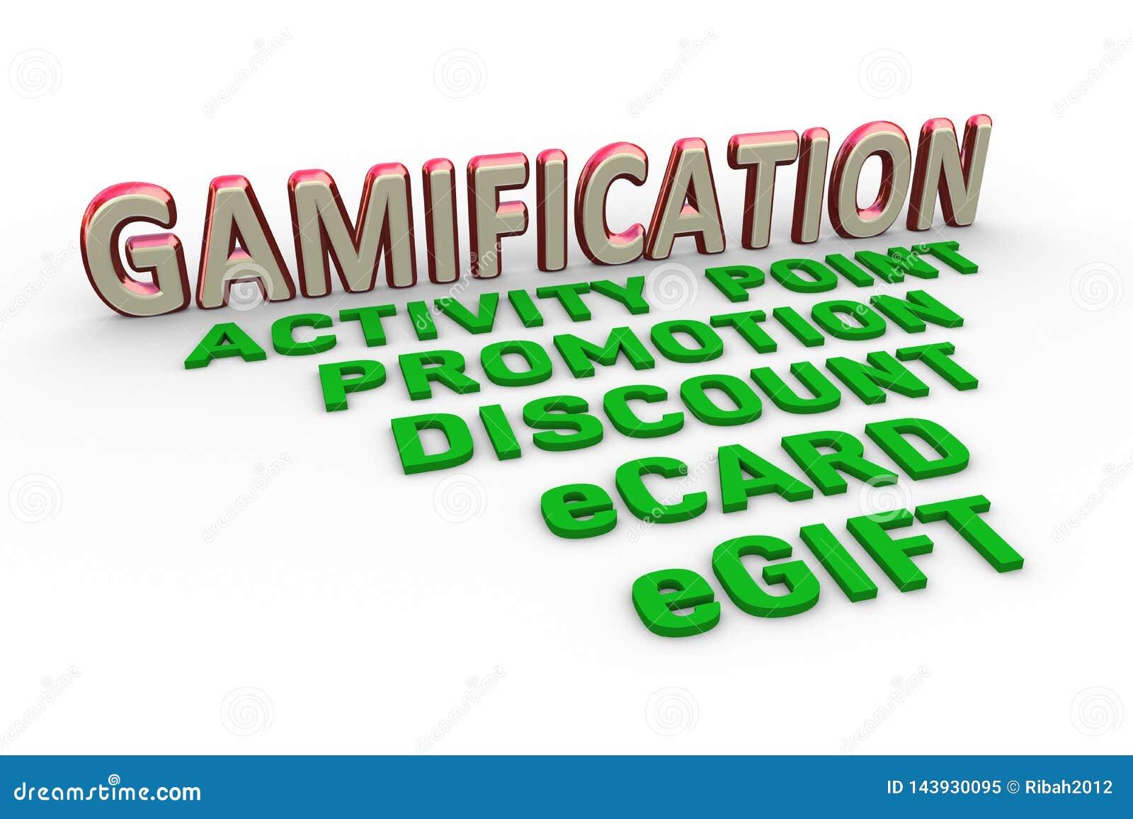 Diseño de concepto 3d de palabra del texto del gamification