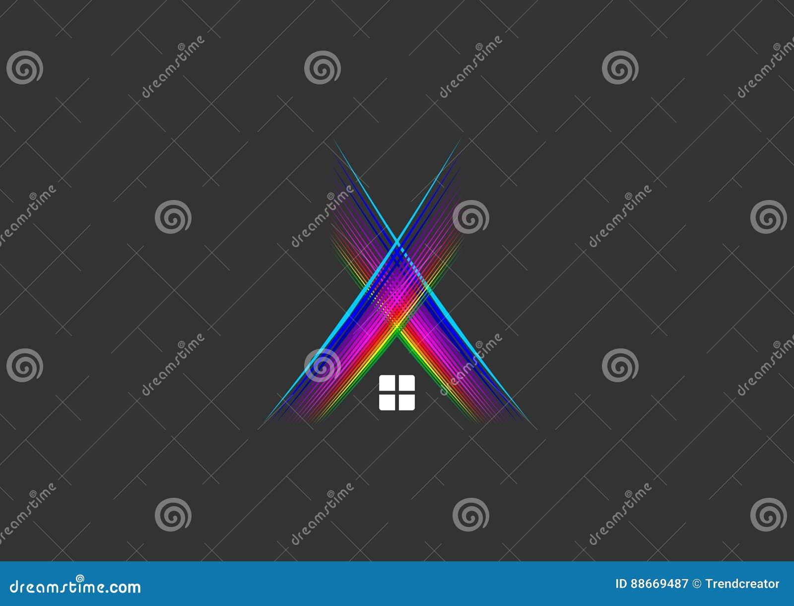 Diseño de concepto de los rayos del logotipo, de la casa, del hogar, del símbolo, del club nocturno, del edificio, de la construc