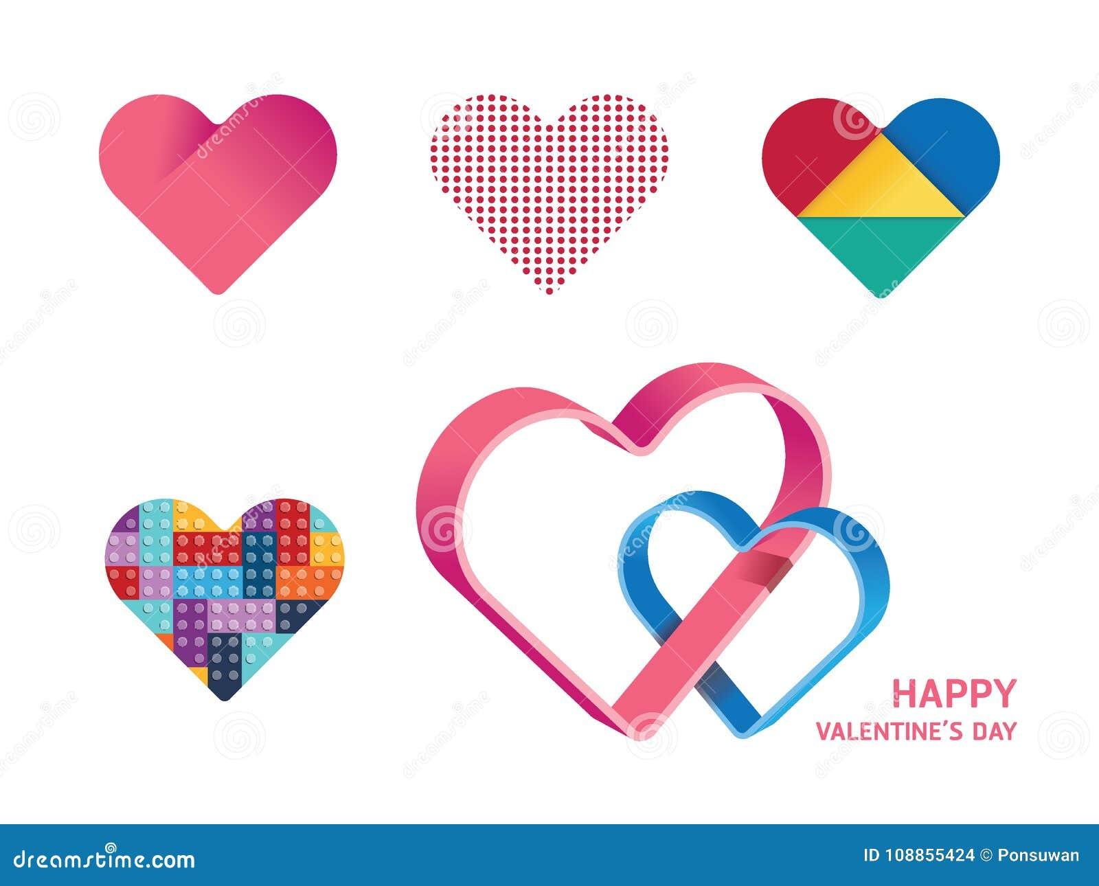 Diseño de concepto feliz de la forma del corazón del vector del día de tarjetas del día de San Valentín