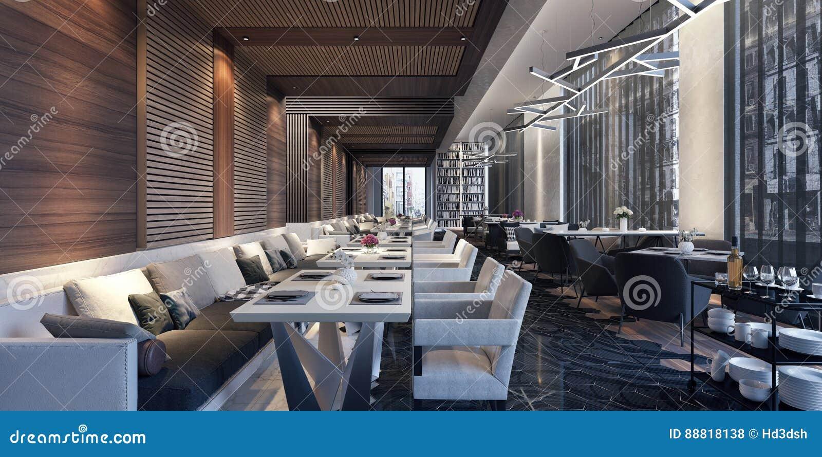 Dise o de concepto moderno de sal n del restaurante stock - Diseno de salon ...