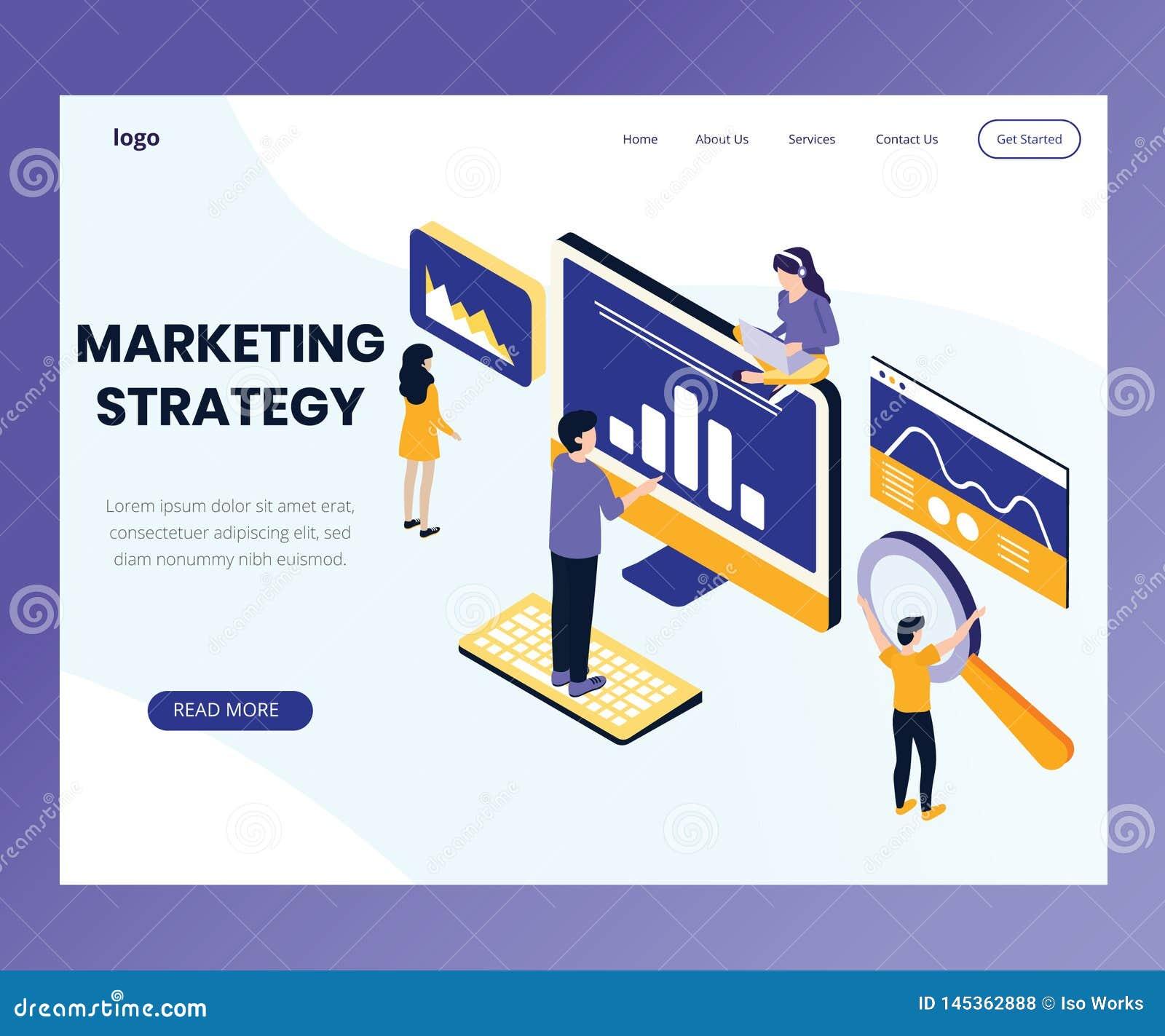 Diseño de estrategia de marketing donde la gente está trabajando concepto isométrico de las ilustraciones