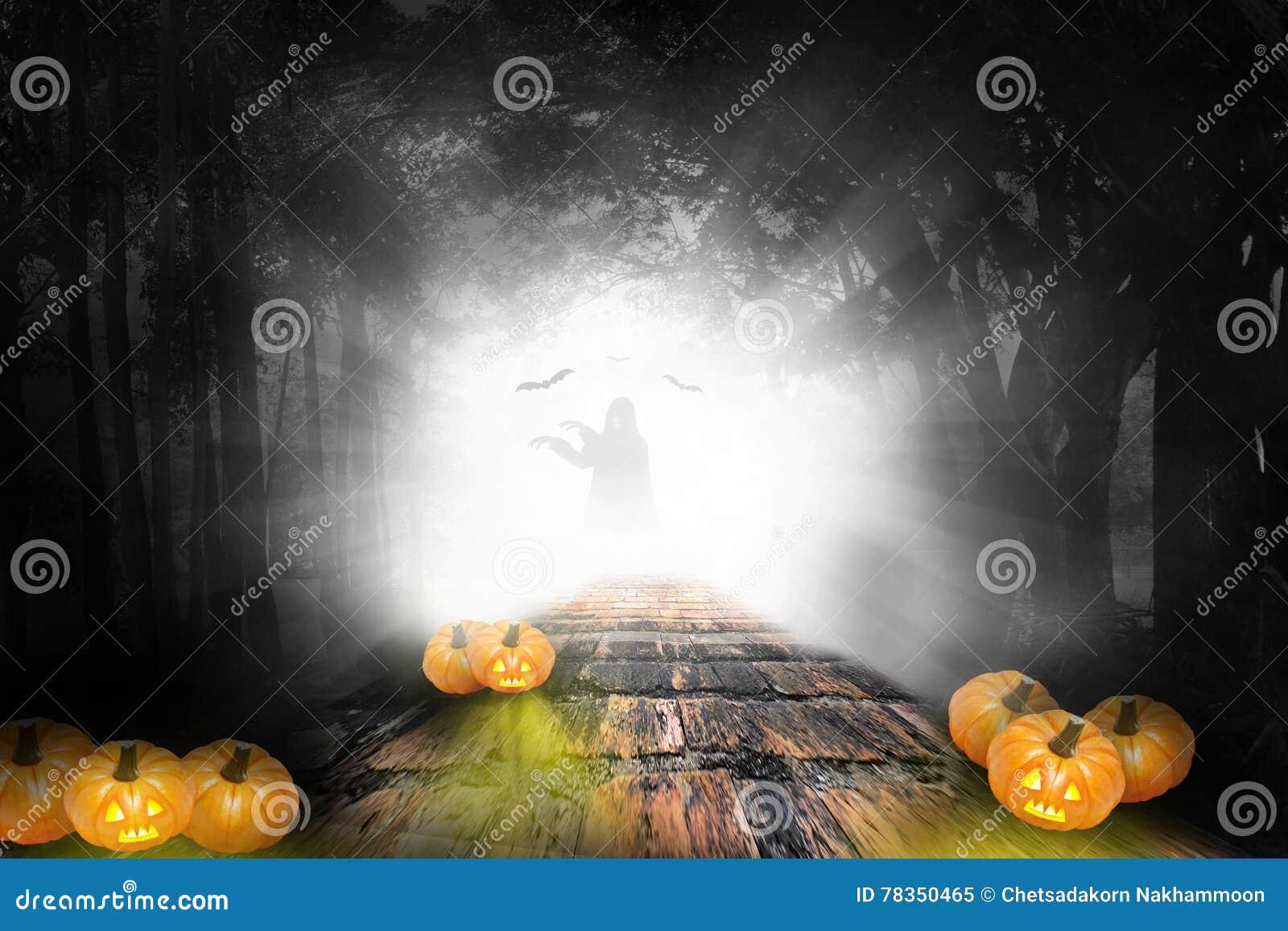 Diseño de Halloween - las calabazas del bosque adentro oscurecen