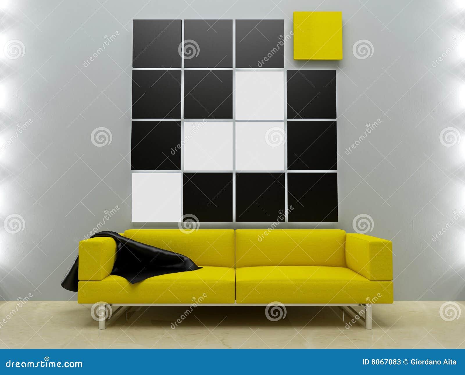 Dise o de interiores sof amarillo en estilo moderno for Estilo moderno diseno de interiores caracteristicas