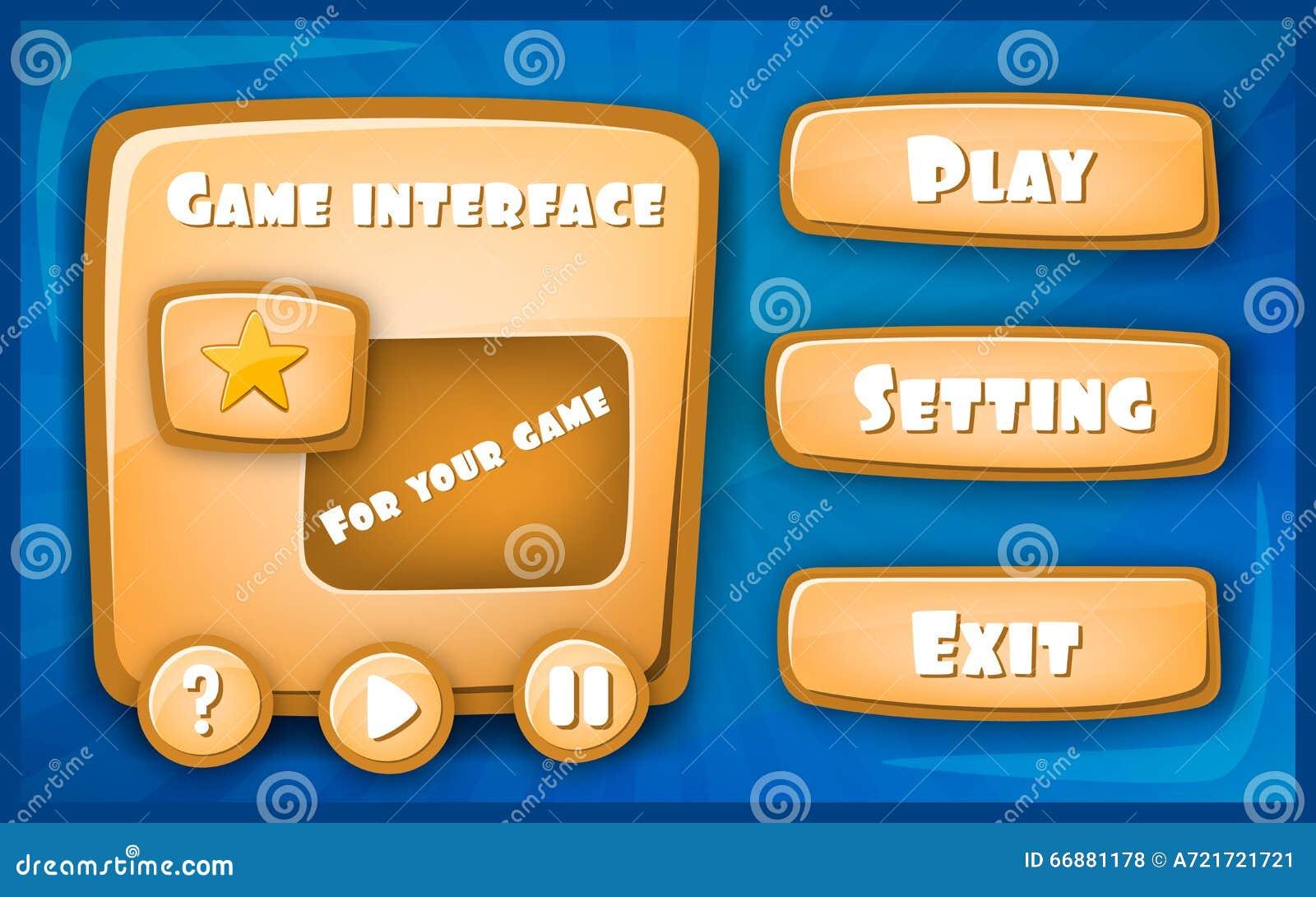 diseo de juego creativo abstracto del interfaz del vector del concepto barra del recurso e iconos del recurso para los juegos d