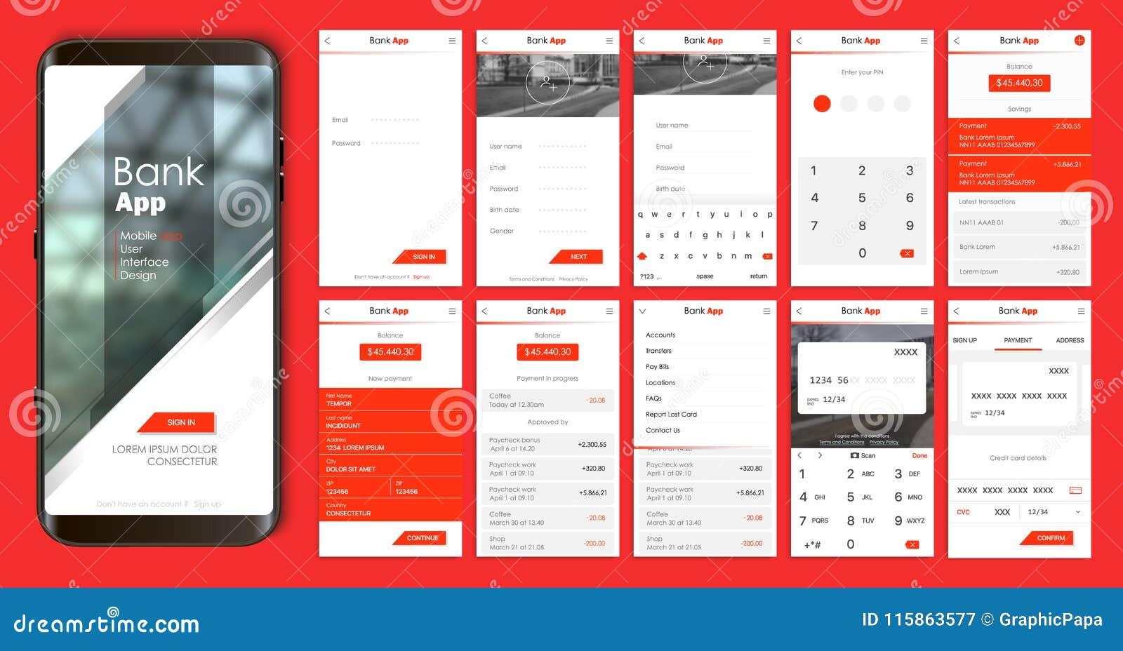 Diseño de la aplicación móvil, UI, UX Un sistema de pantallas del GUI con la entrada del inicio de sesión y de la contraseña