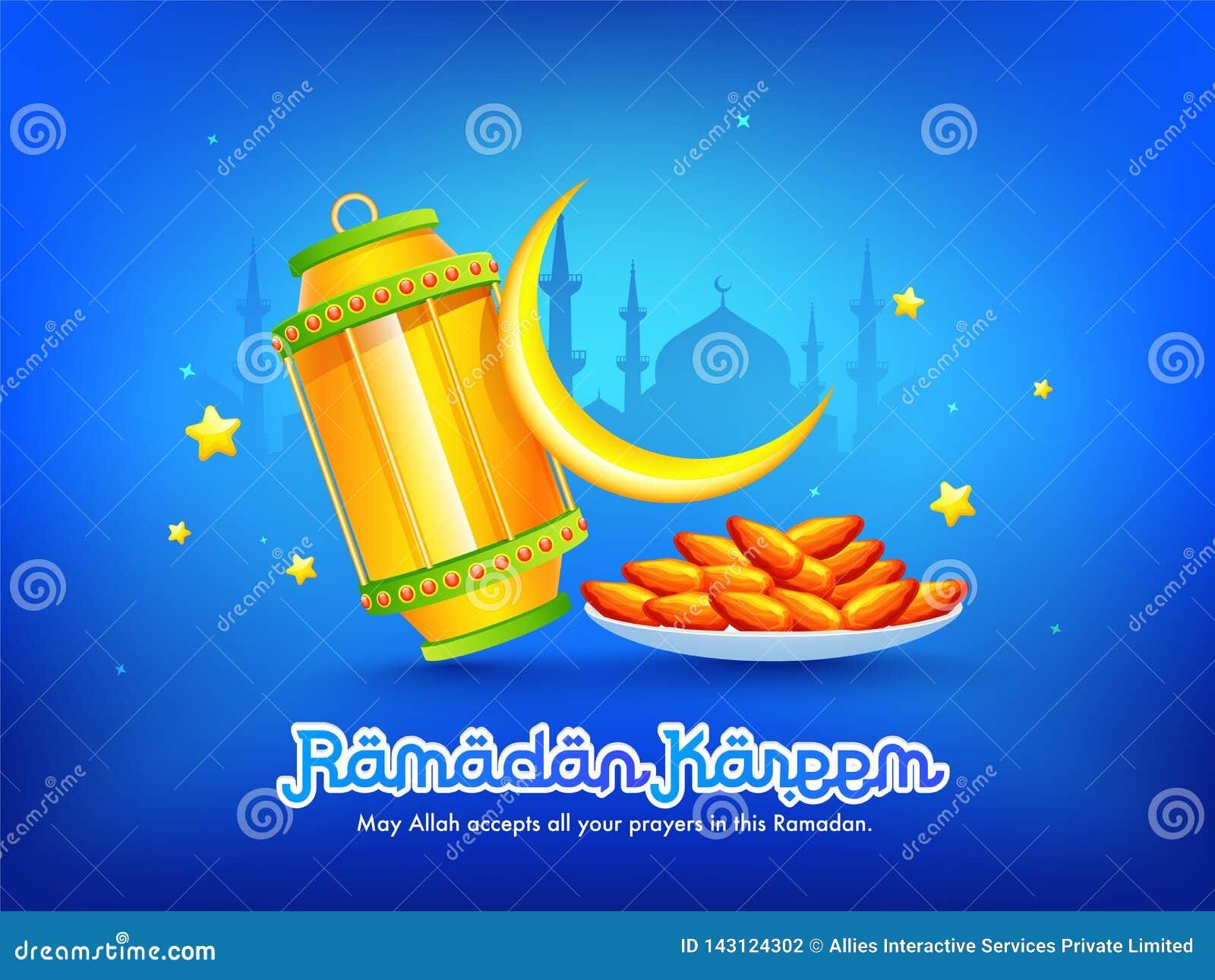 Diseño de la bandera o del cartel de la celebración de Ramadan Kareem con el mensaje, ejemplo de la celebración del Ramadán