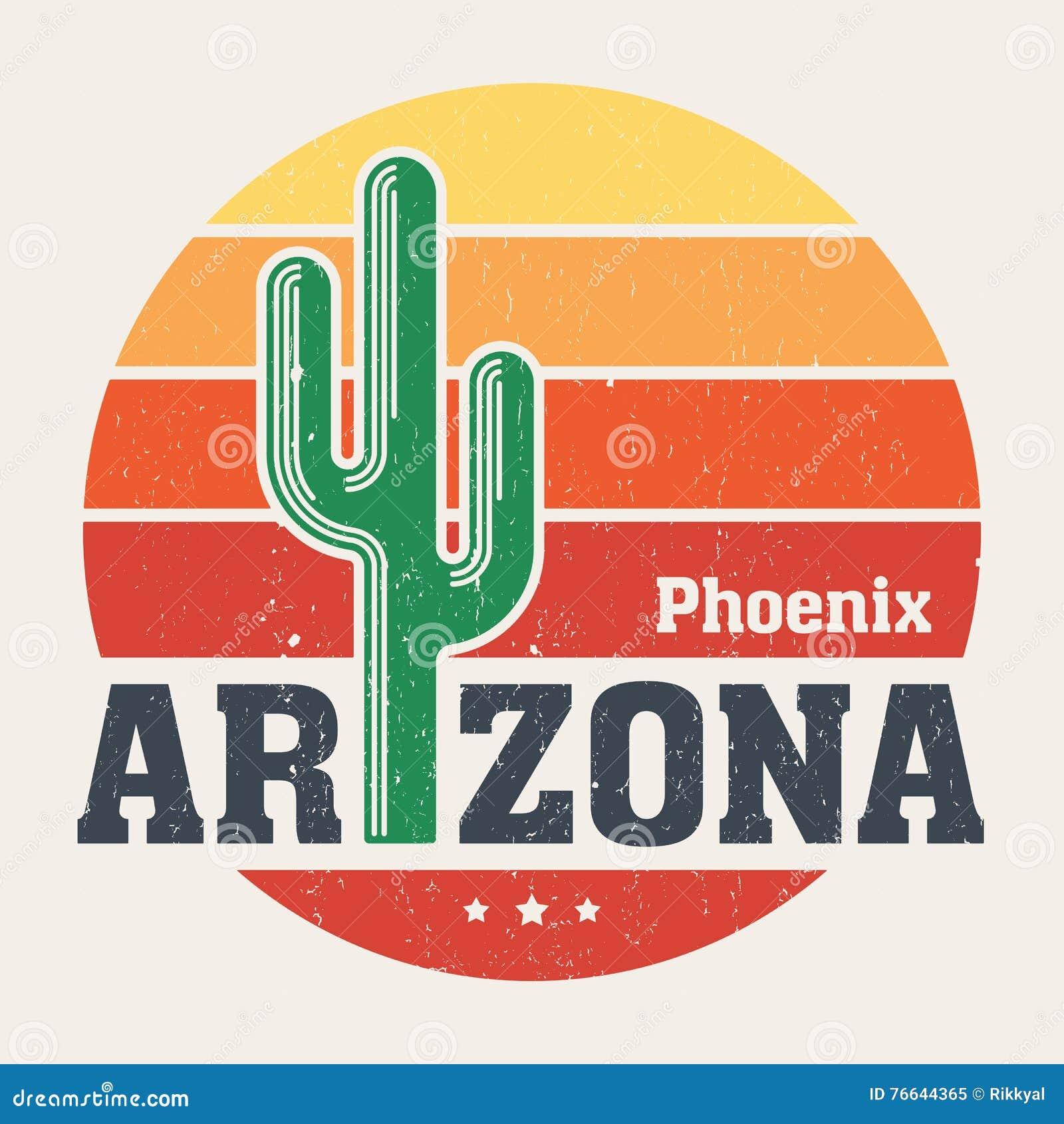 Diseño de la camiseta de Arizona, impresión, tipografía, etiqueta con el saguaro