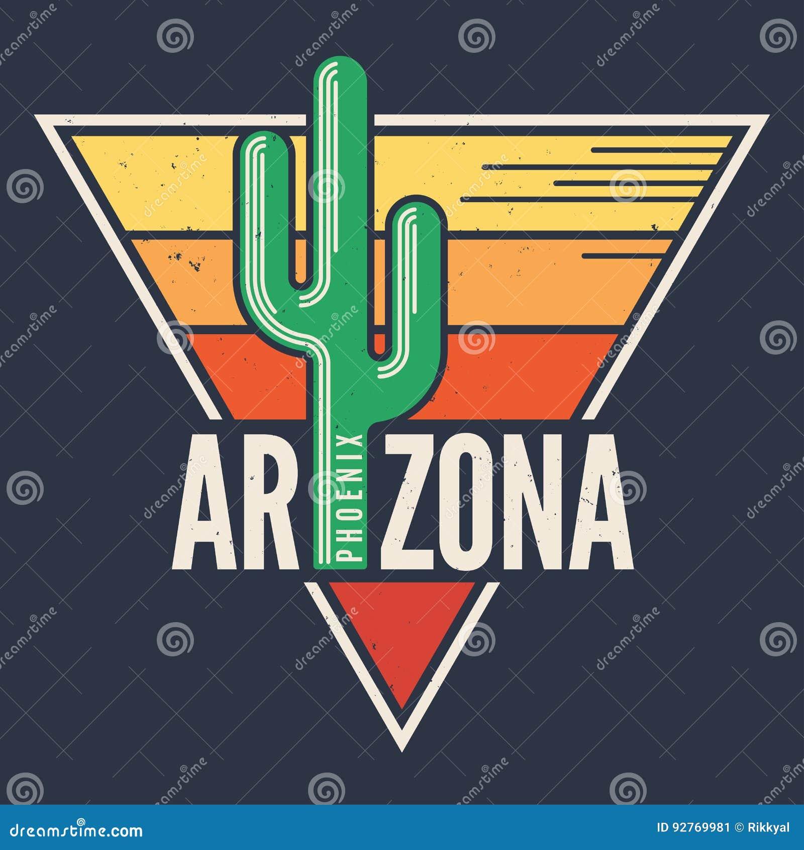 Diseño de la camiseta de Arizona, impresión, tipografía, etiqueta con holgura diseñada