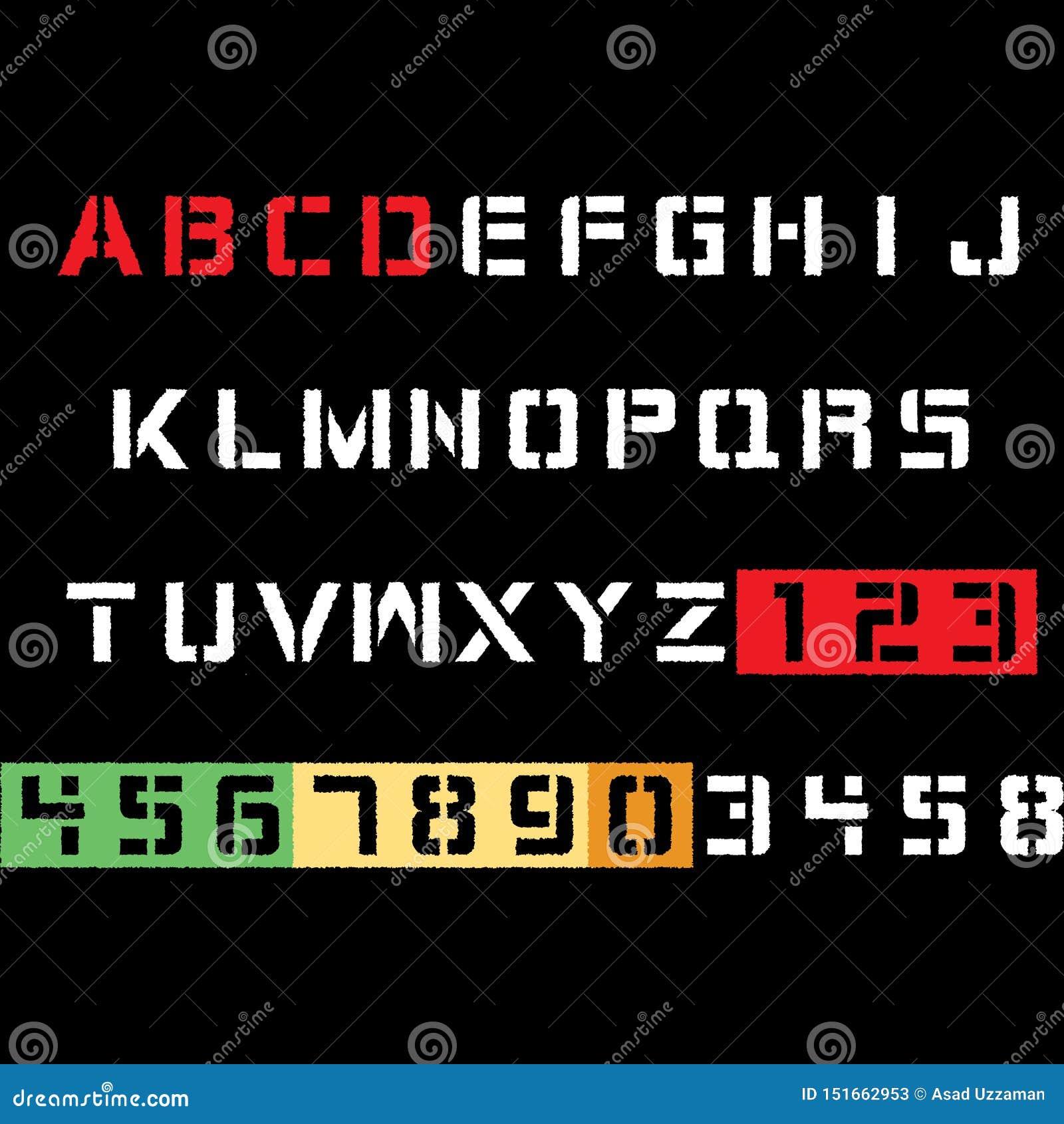 Diseño de la camiseta de la tipografía del alfabeto