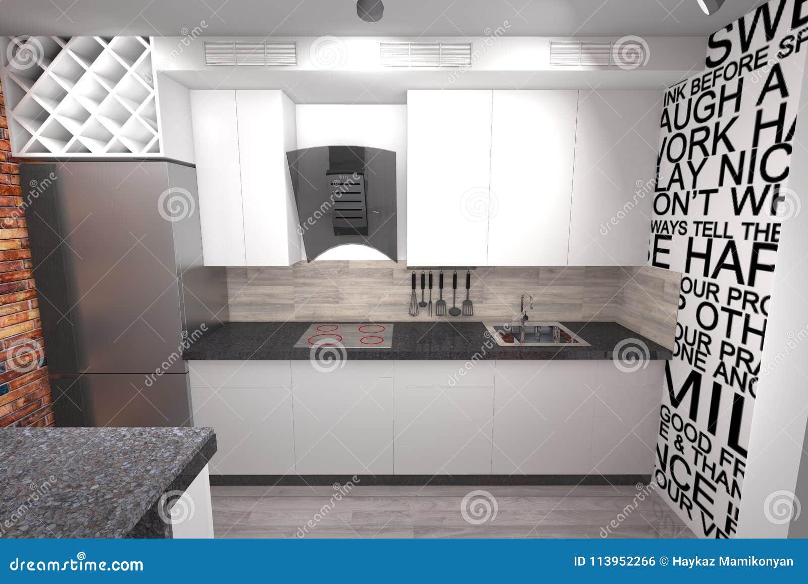 Diseño De La Cocina 3D Moderno Stock de ilustración - Ilustración de ...