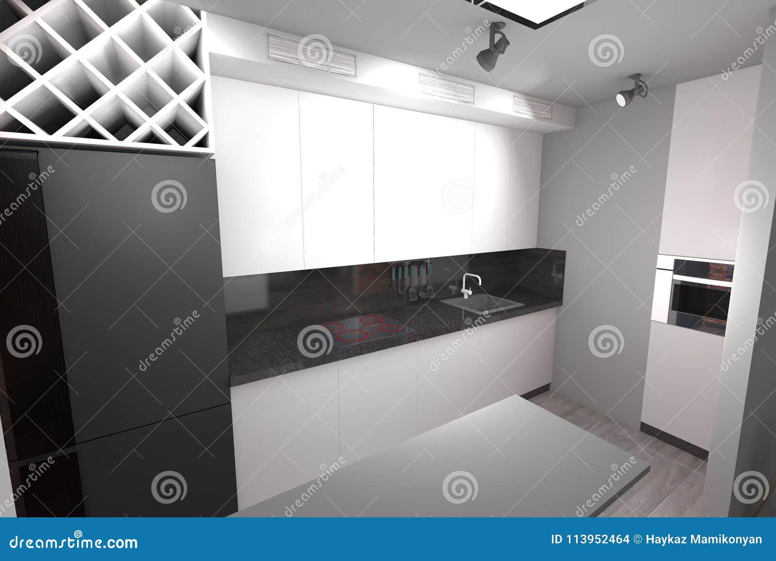 Diseño De La Cocina 3D Moderno Stock de ilustración ...
