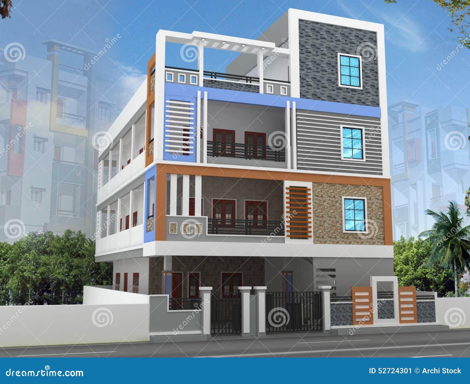 Full House Design Studio Hyderabad Dise 241 O De La Elevaci 243 N Del Edificio 3d Stock De