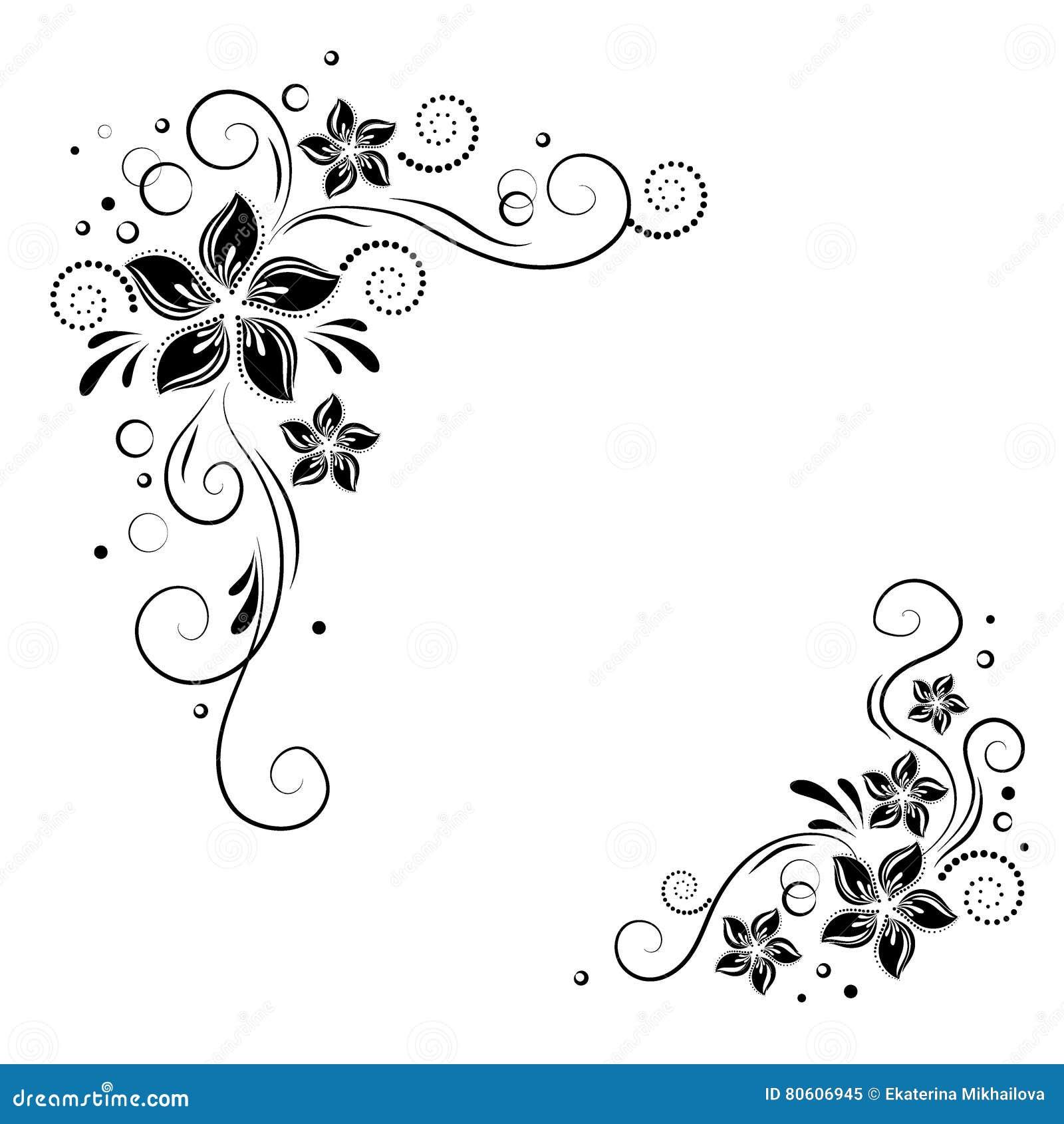 Diseno De La Esquina Floral Adorne Las Flores Negras En El Fondo