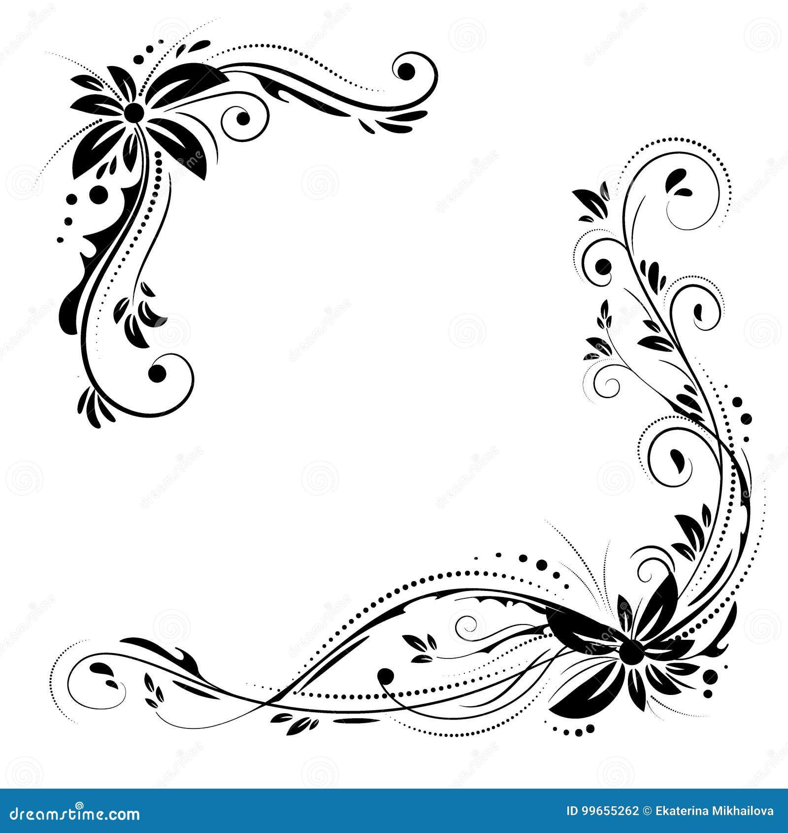 Diseno De La Esquina Floral Flores Negras Del Ornamento En El Fondo