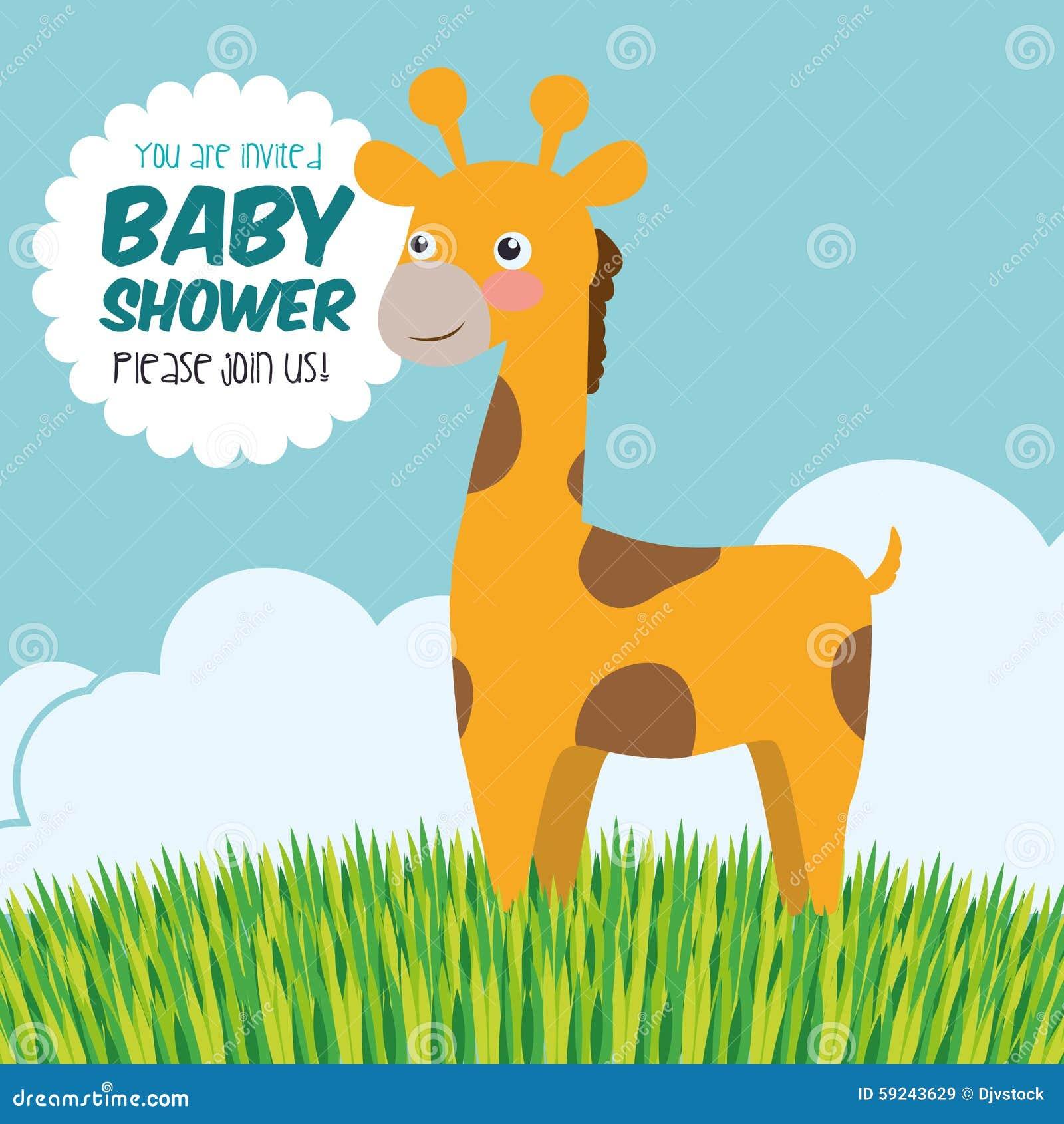 Download Diseño De La Fiesta De Bienvenida Al Bebé Ilustración del Vector - Ilustración de bautismos, giraffe: 59243629