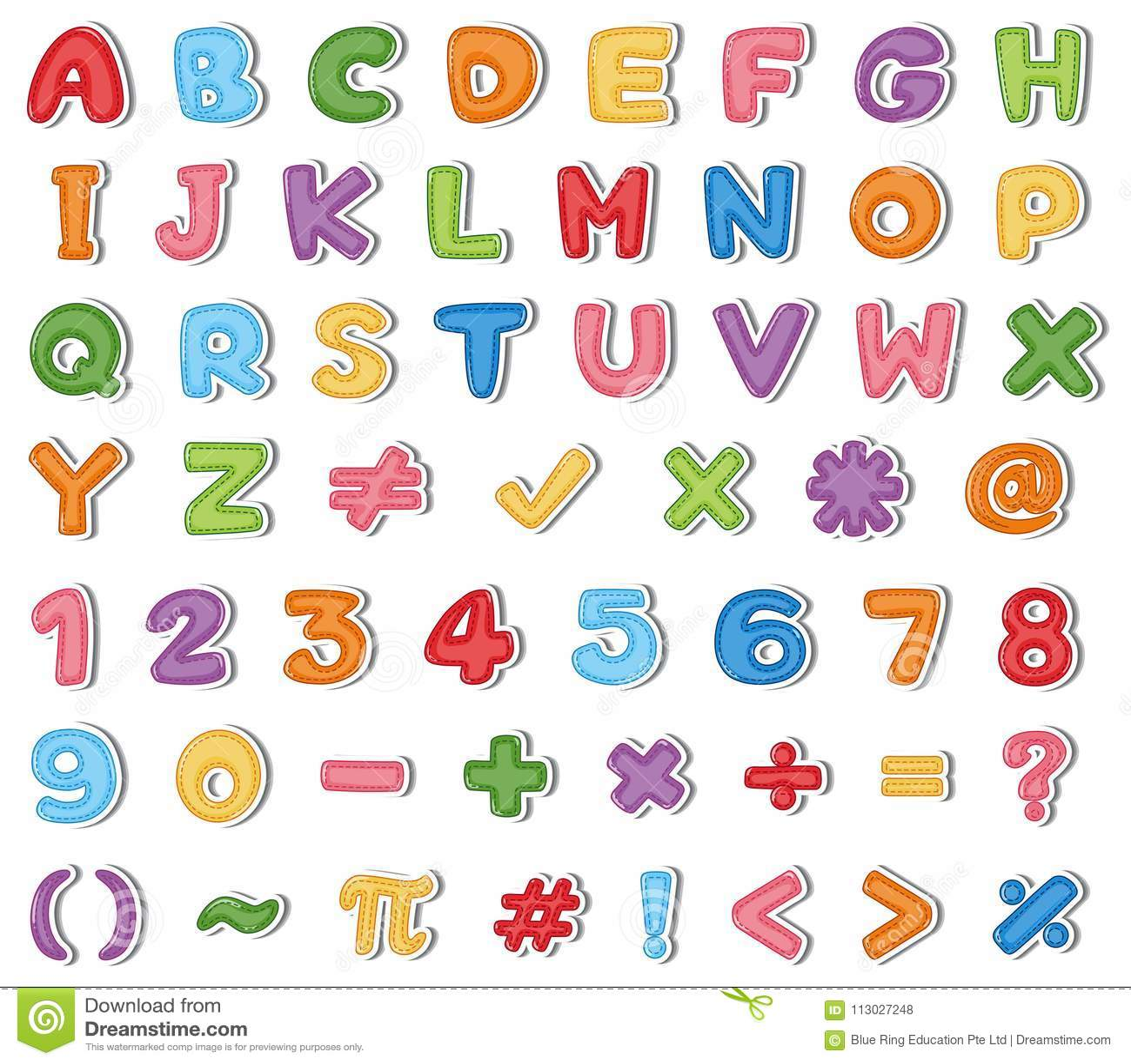 Diseño de la fuente para los alfabetos ingleses y los números en muchos colores