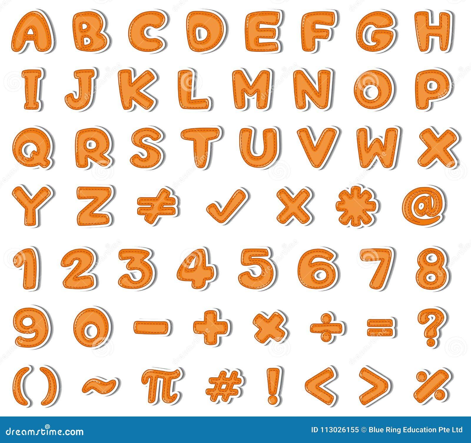 Diseño de la fuente para los alfabetos ingleses y los números en naranja