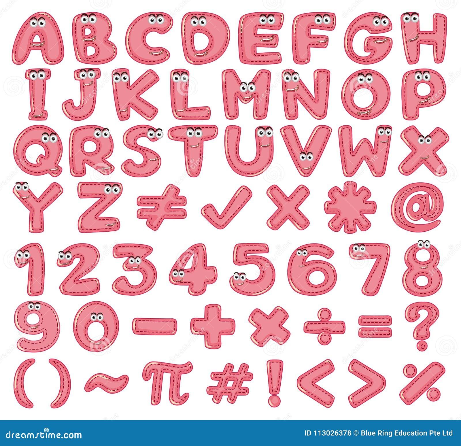Diseño de la fuente para los alfabetos ingleses y los números en rosa