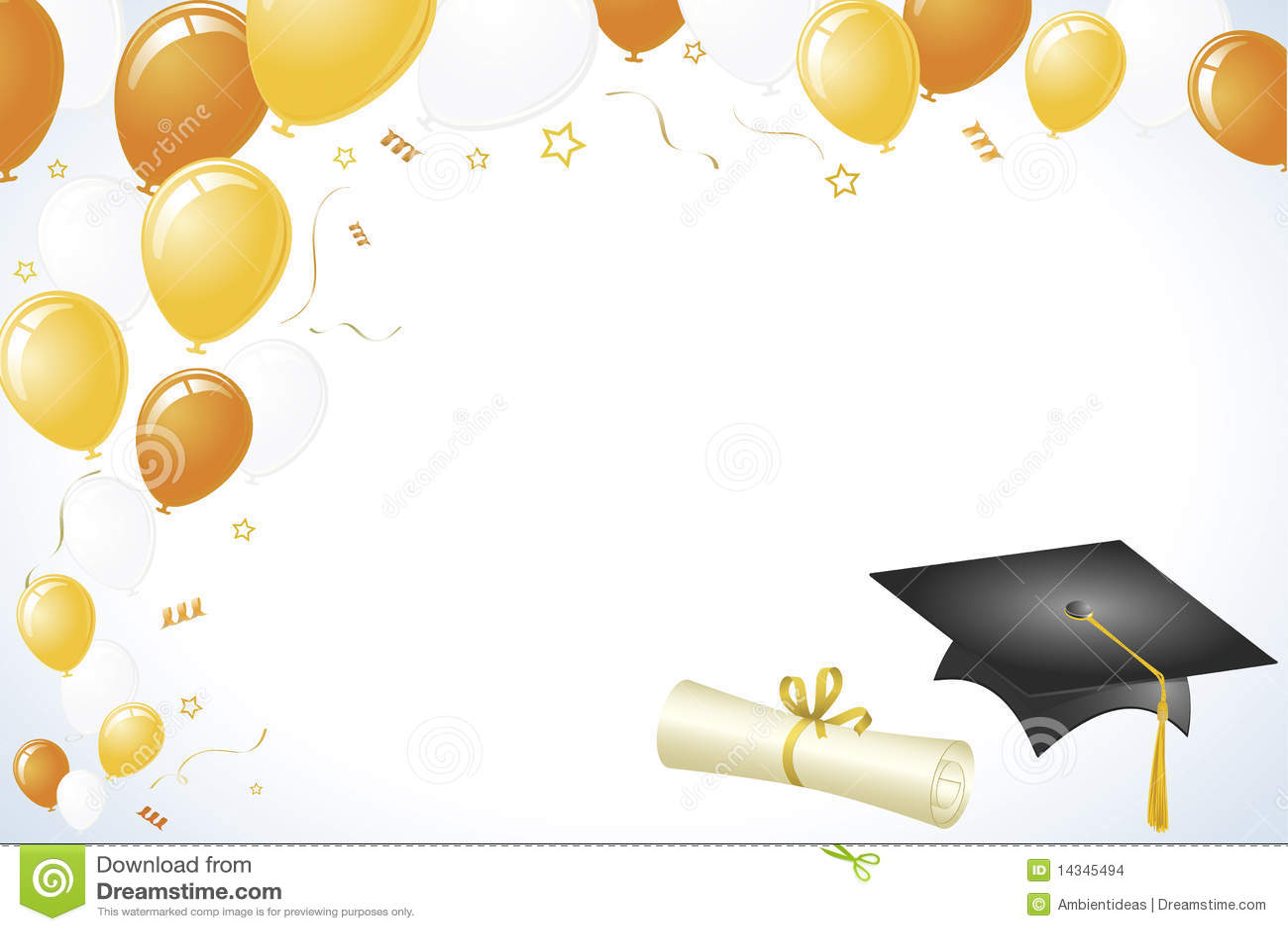 Imagenes De Archivo  Dise  O De La Graduaci  N Con Oro Y Globos