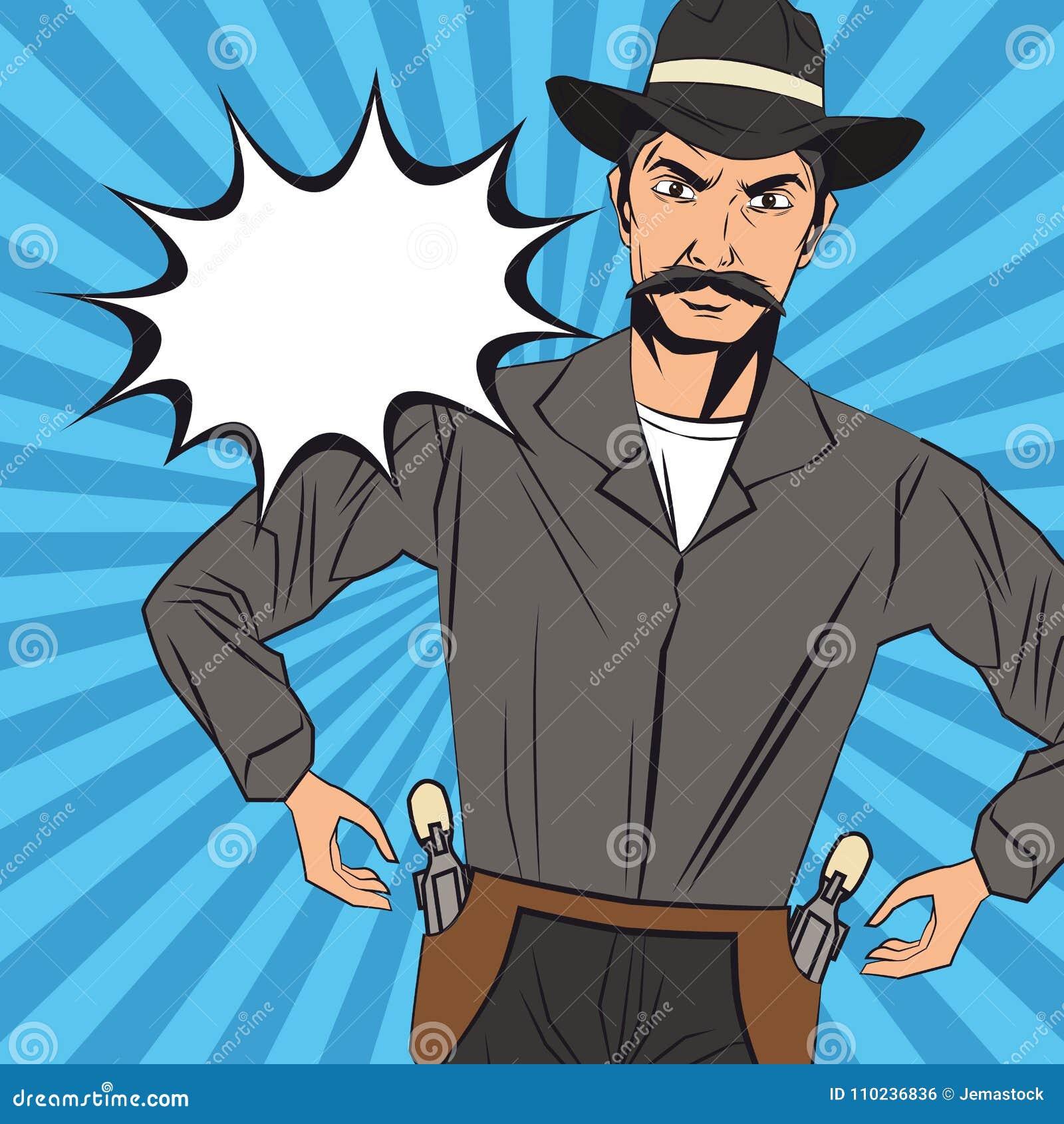 9944ef660662f Diseño De La Historieta Del Hombre Del Vaquero Ilustración del ...