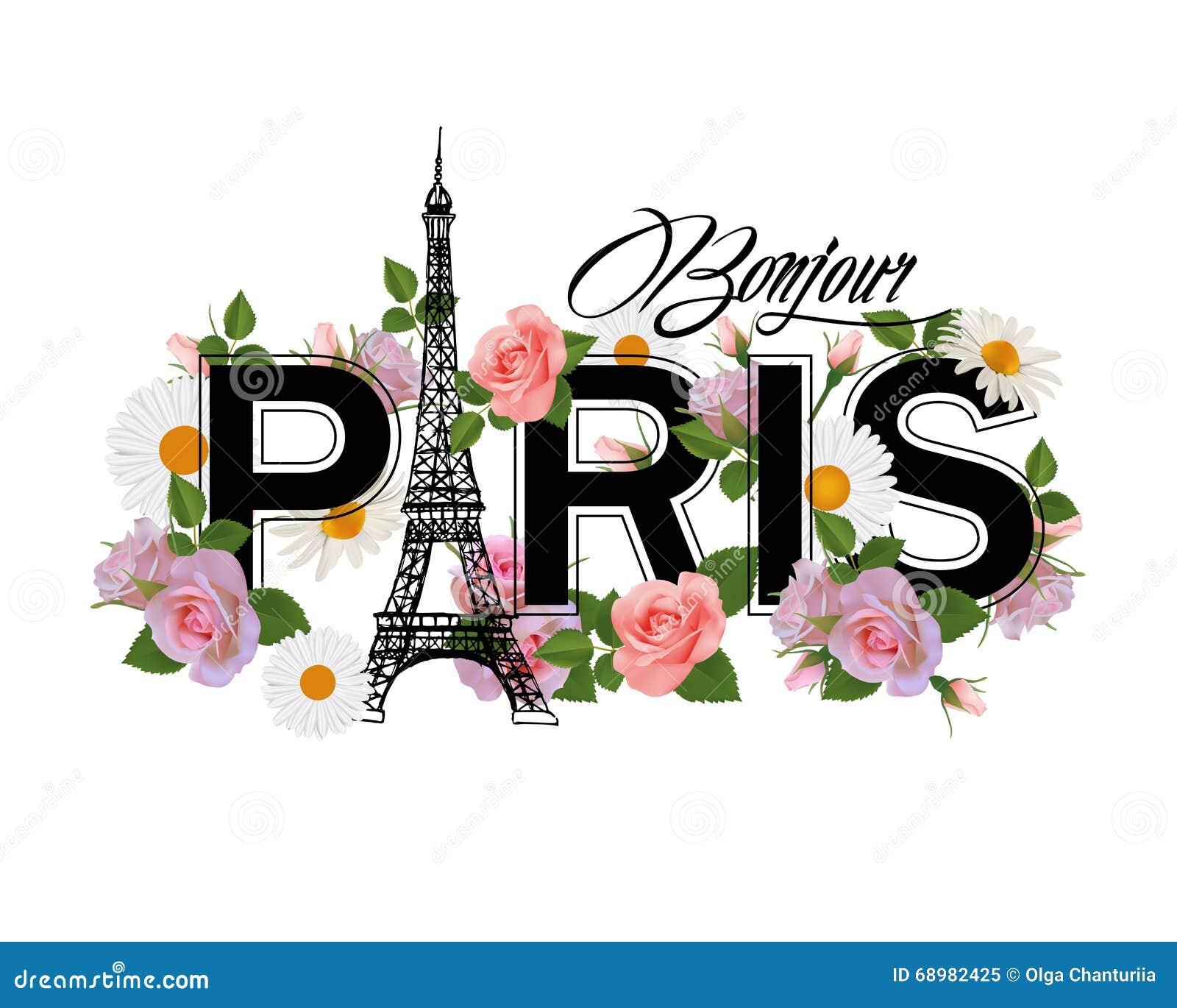 Diseño de la impresión de la camiseta con el lema hola París, la torre Eiffel, el marco y las rosas rosadas