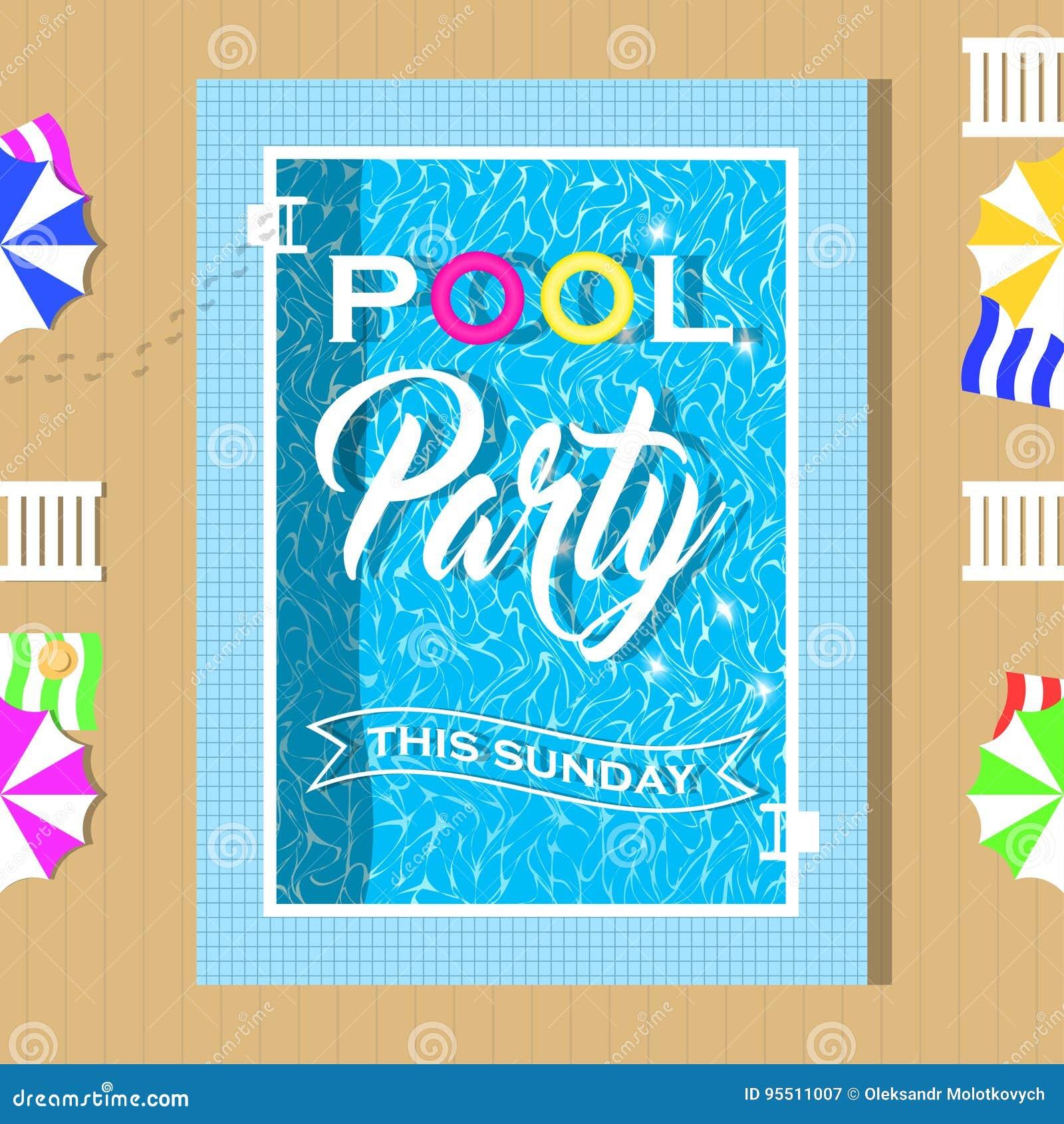 diseño de la invitación de la fiesta en la piscina plantilla para