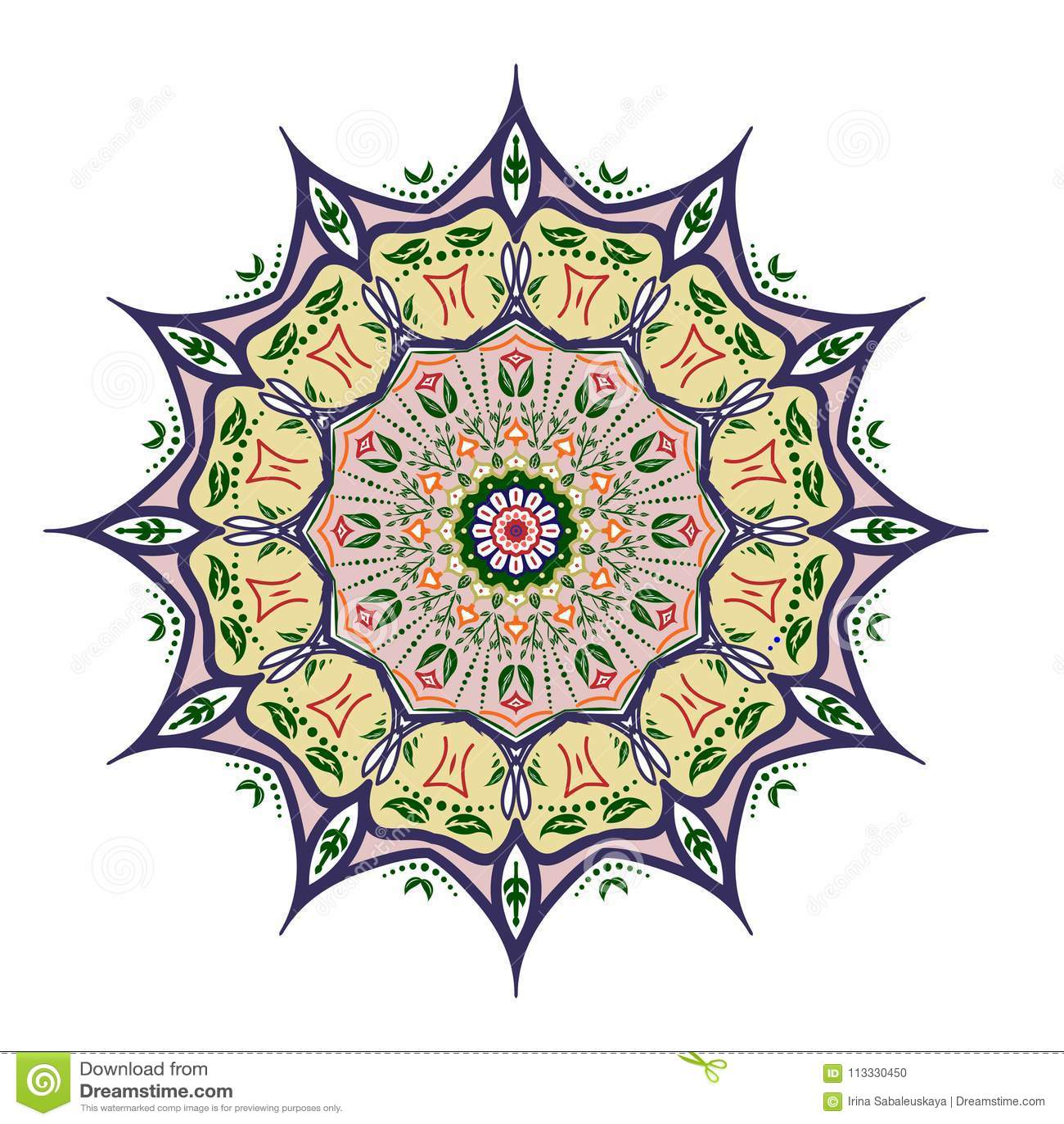 Diseño de la mandala, elementos decorativos del vintage, fondo ornamental del garabato