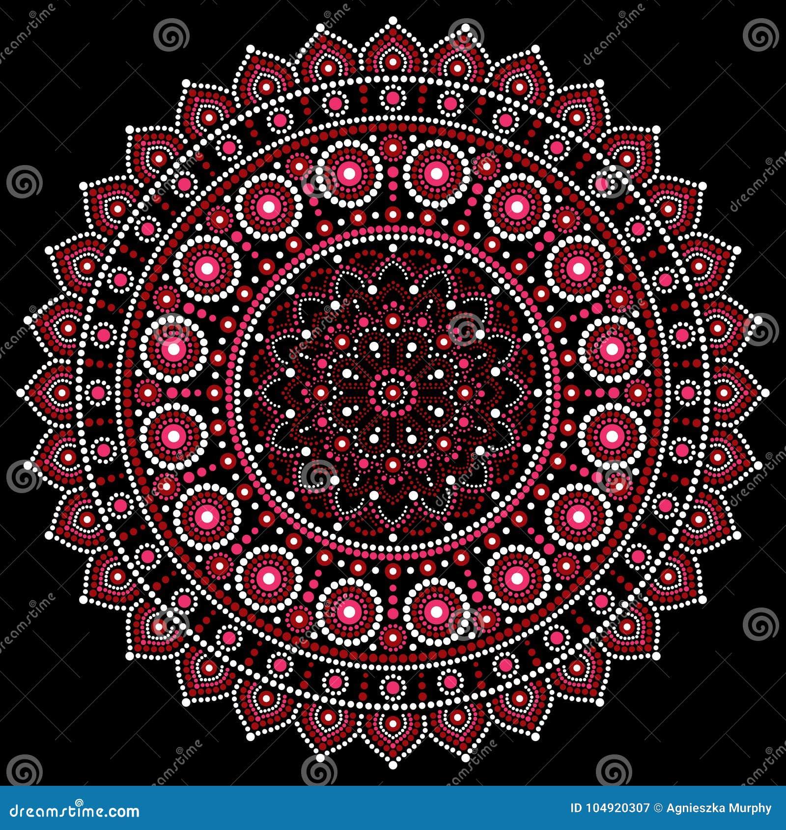 Diseno De La Mandala Estilo Aborigen De La Pintura Del Punto - Pinturas-de-mandalas