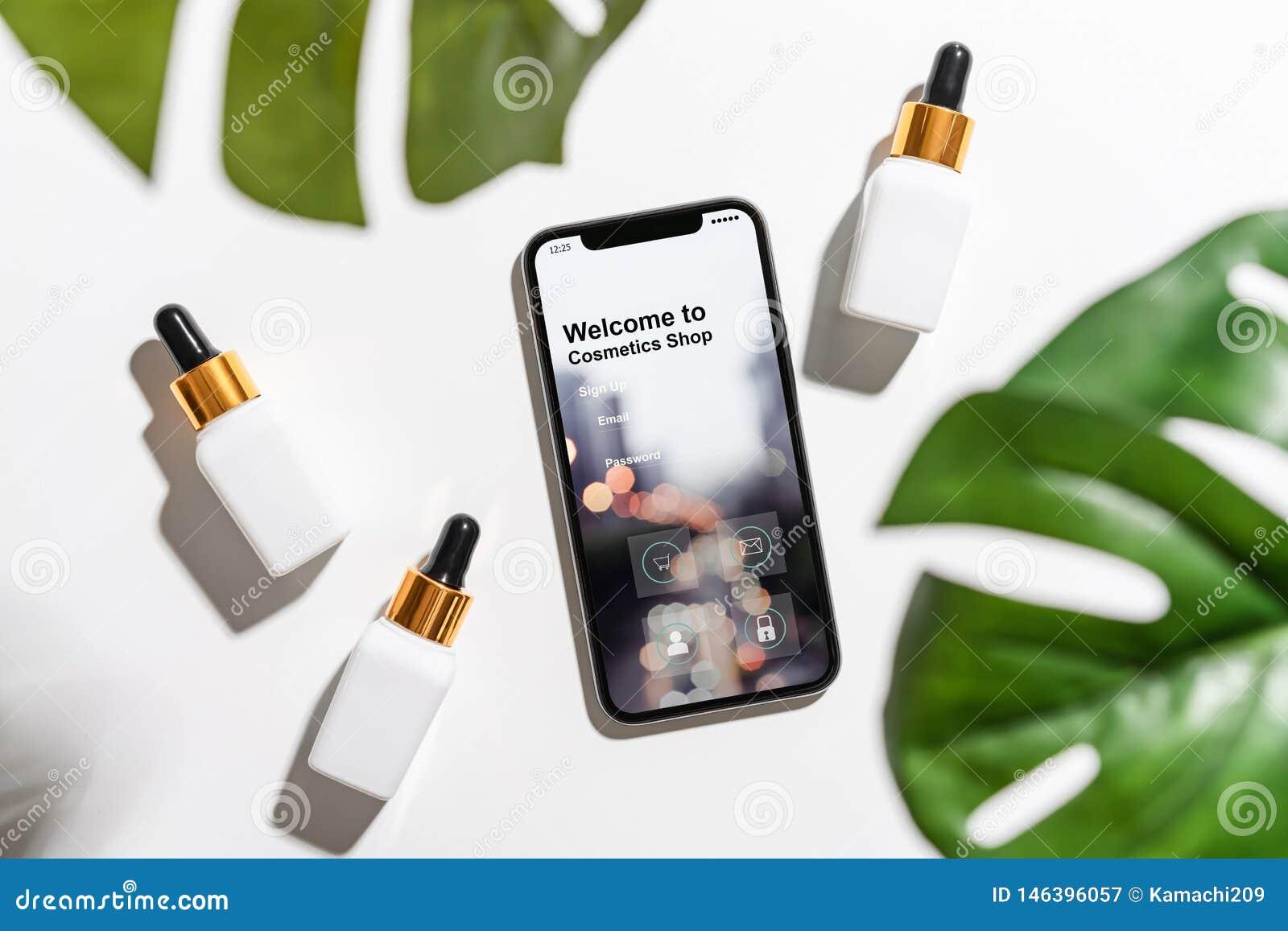 Diseño de la pantalla del smartphone, uso de cosméticos en línea Botella blanca y tarro poner crema, maqueta del suero de la marc