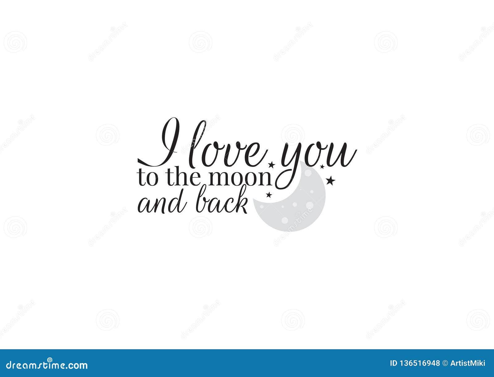 Diseño de la pared, te amo a la luna y a la parte posterior, redactando diseño, etiquetas de la pared, Art Decor