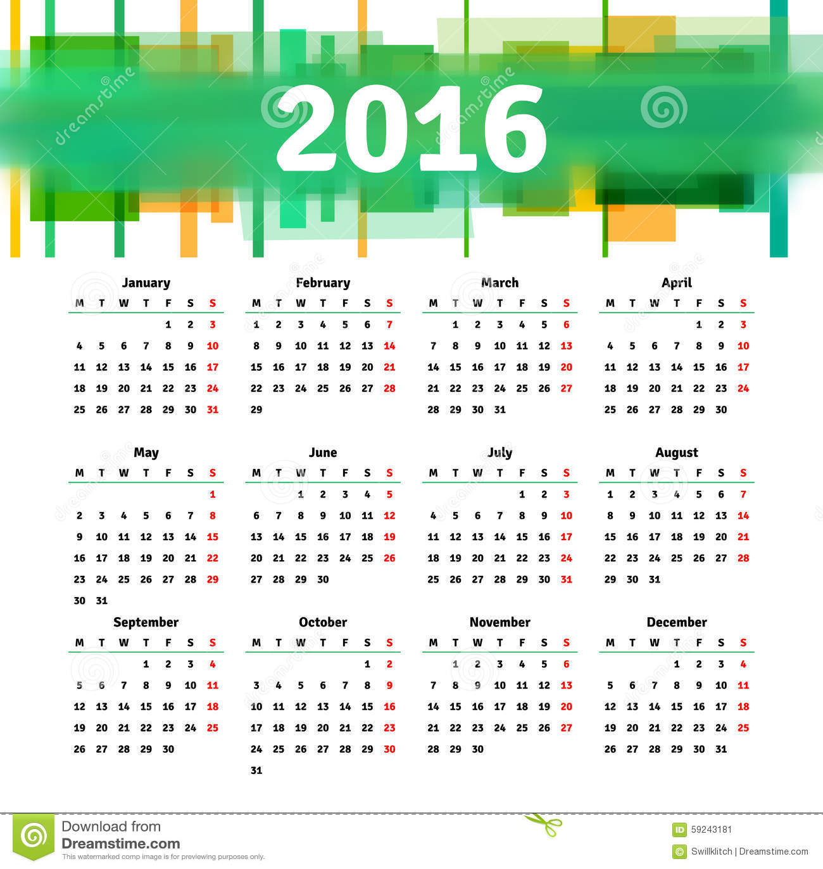 Diseño 2016 de la plantilla del calendario con la imagen del jefe