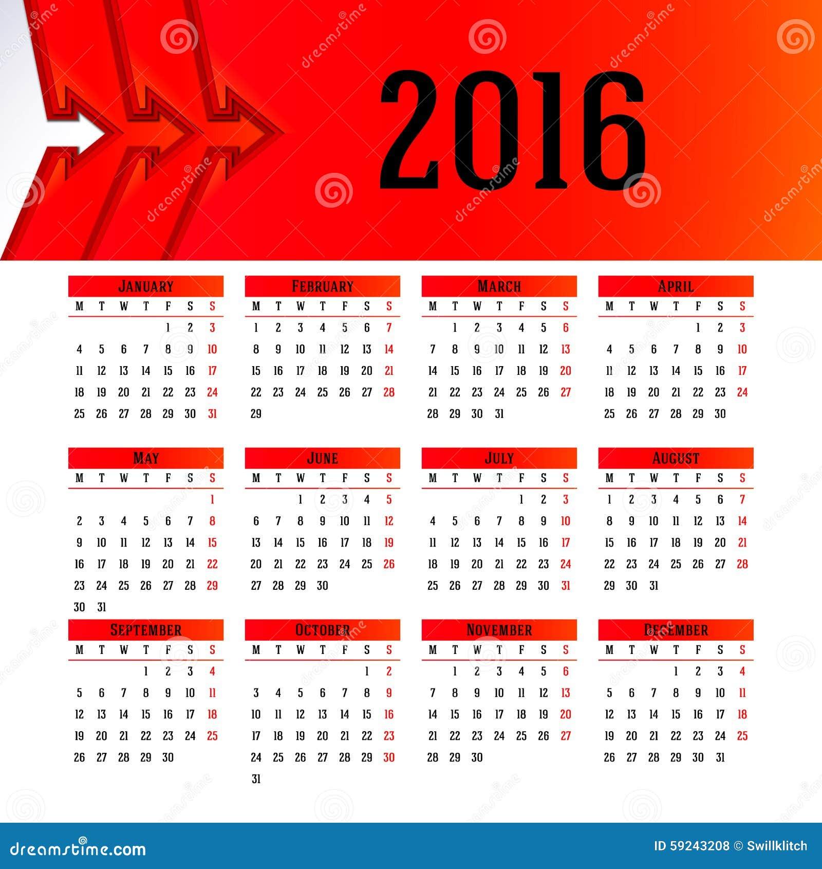Download Diseño 2016 De La Plantilla Del Calendario Con La Imagen Del Jefe Ilustración del Vector - Ilustración de diseño, oficina: 59243208