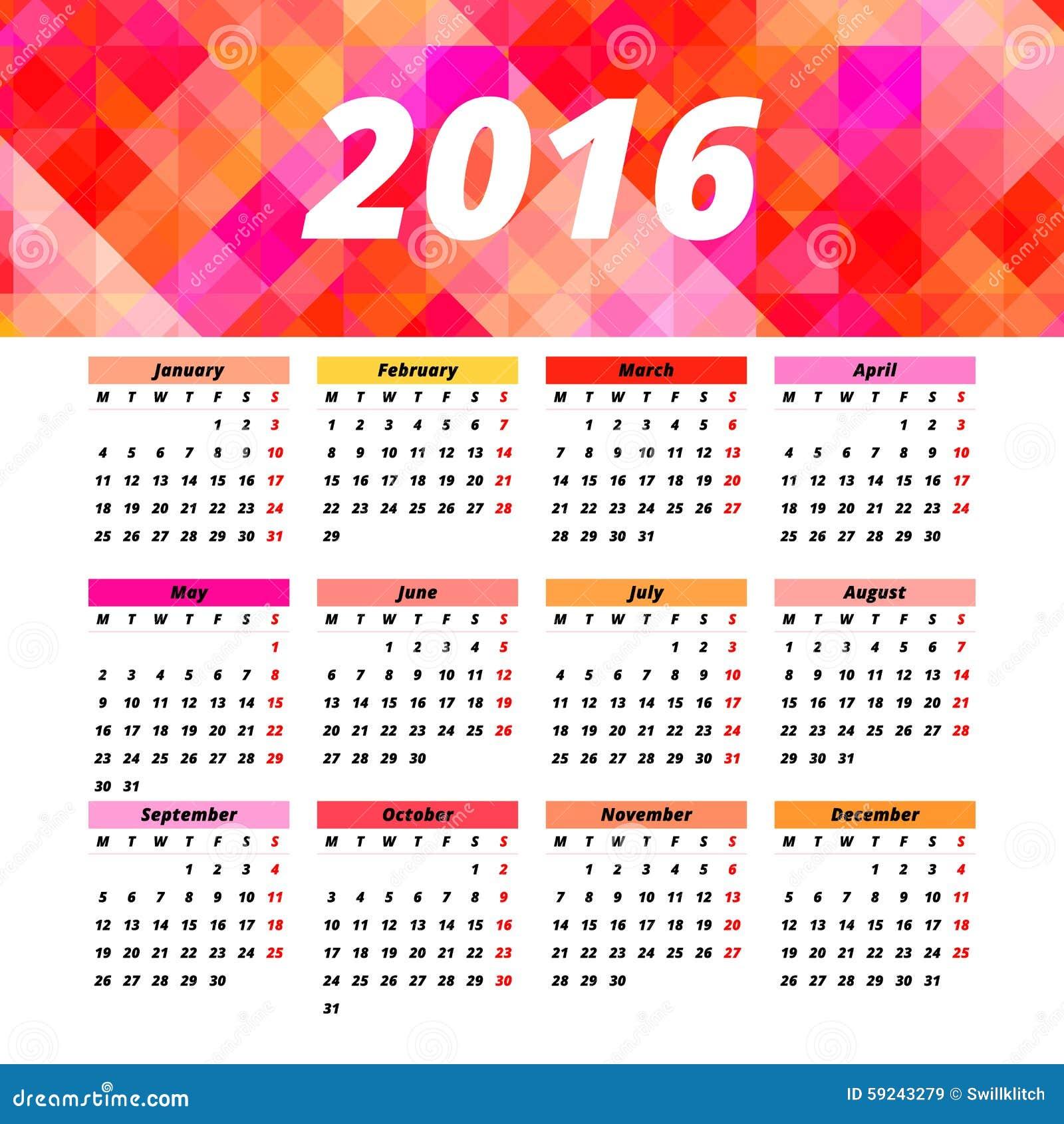 Download Diseño 2016 De La Plantilla Del Calendario Con La Imagen Del Jefe Ilustración del Vector - Ilustración de diario, diseño: 59243279
