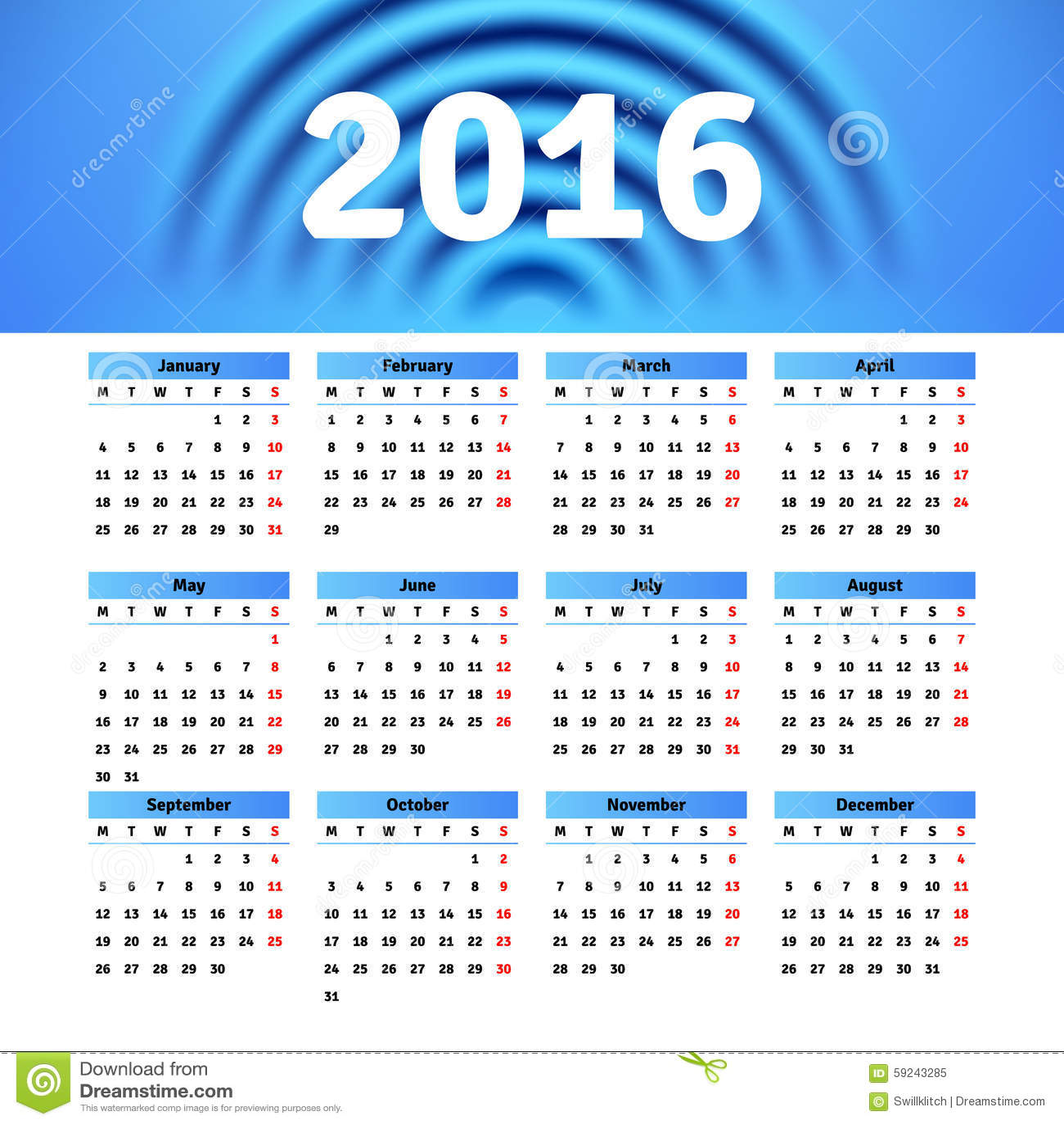 Download Diseño 2016 De La Plantilla Del Calendario Con La Imagen Del Jefe Ilustración del Vector - Ilustración de cronológico, diario: 59243285