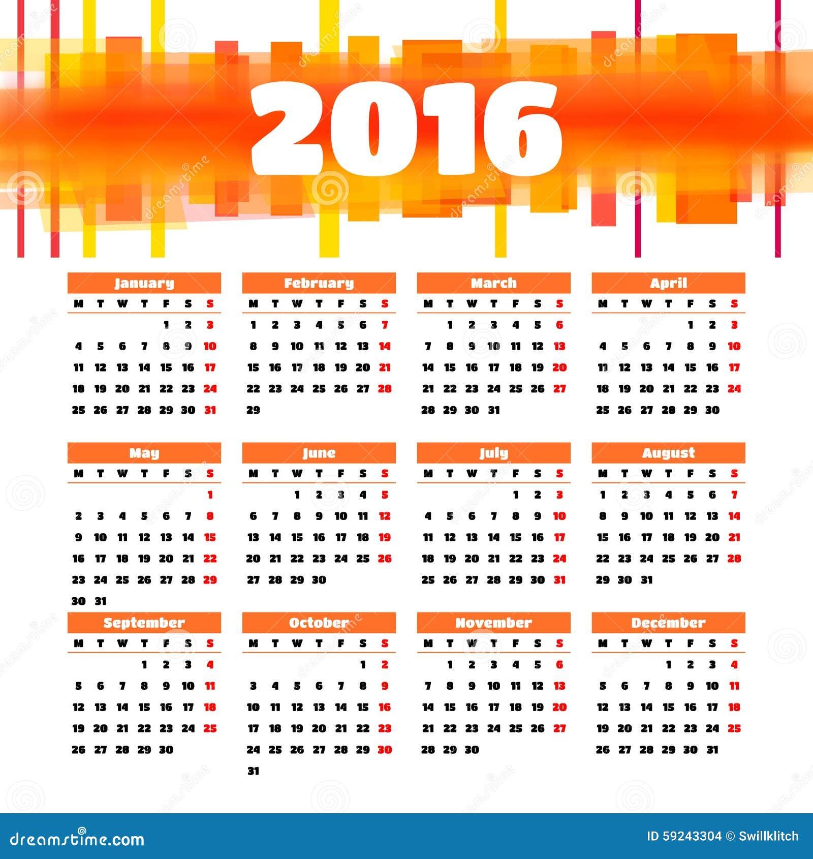 Download Diseño 2016 De La Plantilla Del Calendario Con La Imagen Del Jefe Ilustración del Vector - Ilustración de colorido, color: 59243304