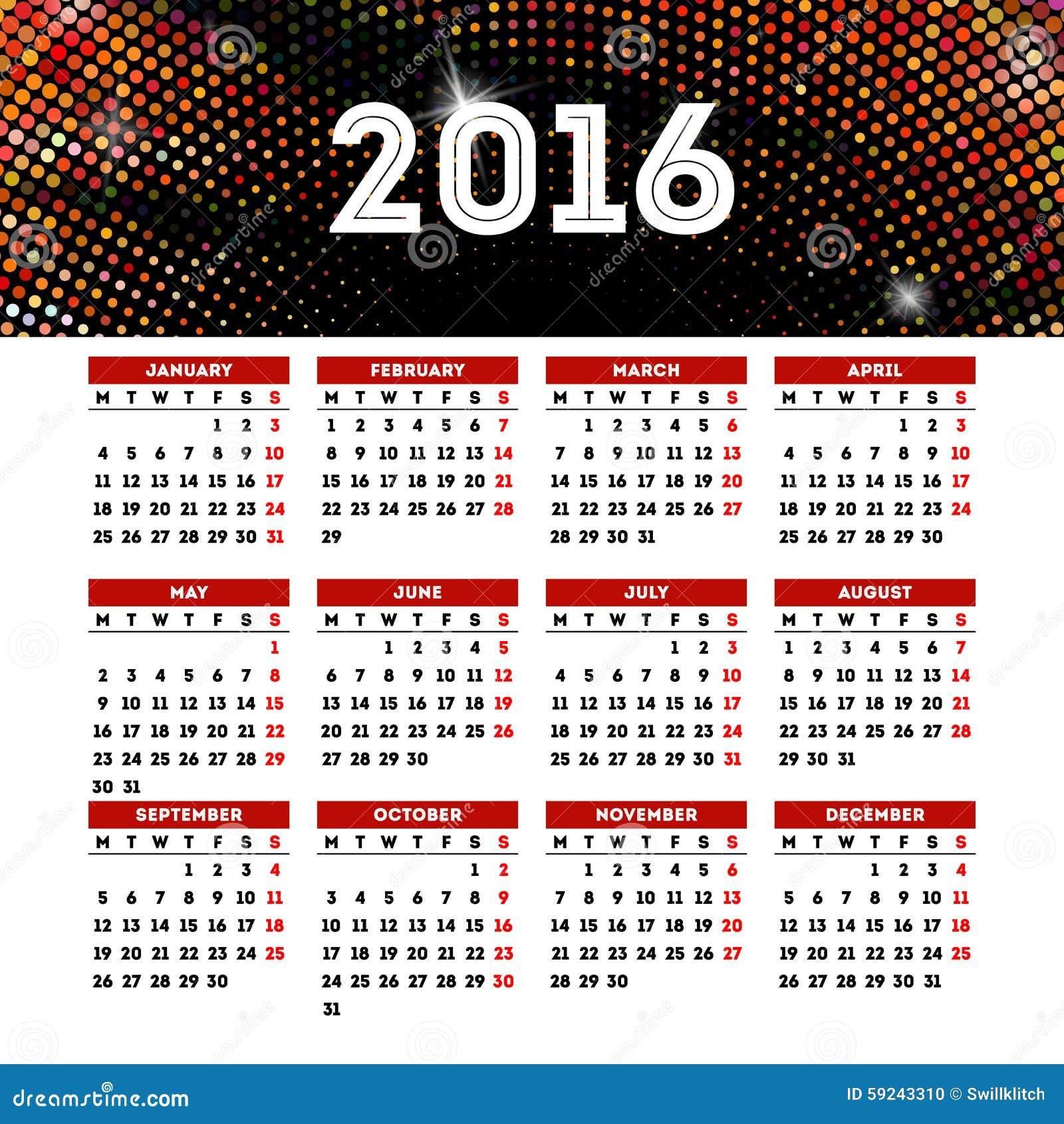 Download Diseño 2016 De La Plantilla Del Calendario Con La Imagen Del Jefe Ilustración del Vector - Ilustración de disco, acontecimiento: 59243310