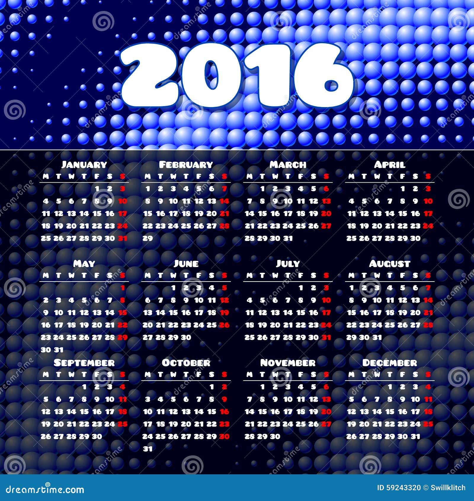 Download Diseño 2016 De La Plantilla Del Calendario Con La Imagen Del Jefe Ilustración del Vector - Ilustración de extracto, gráfico: 59243320